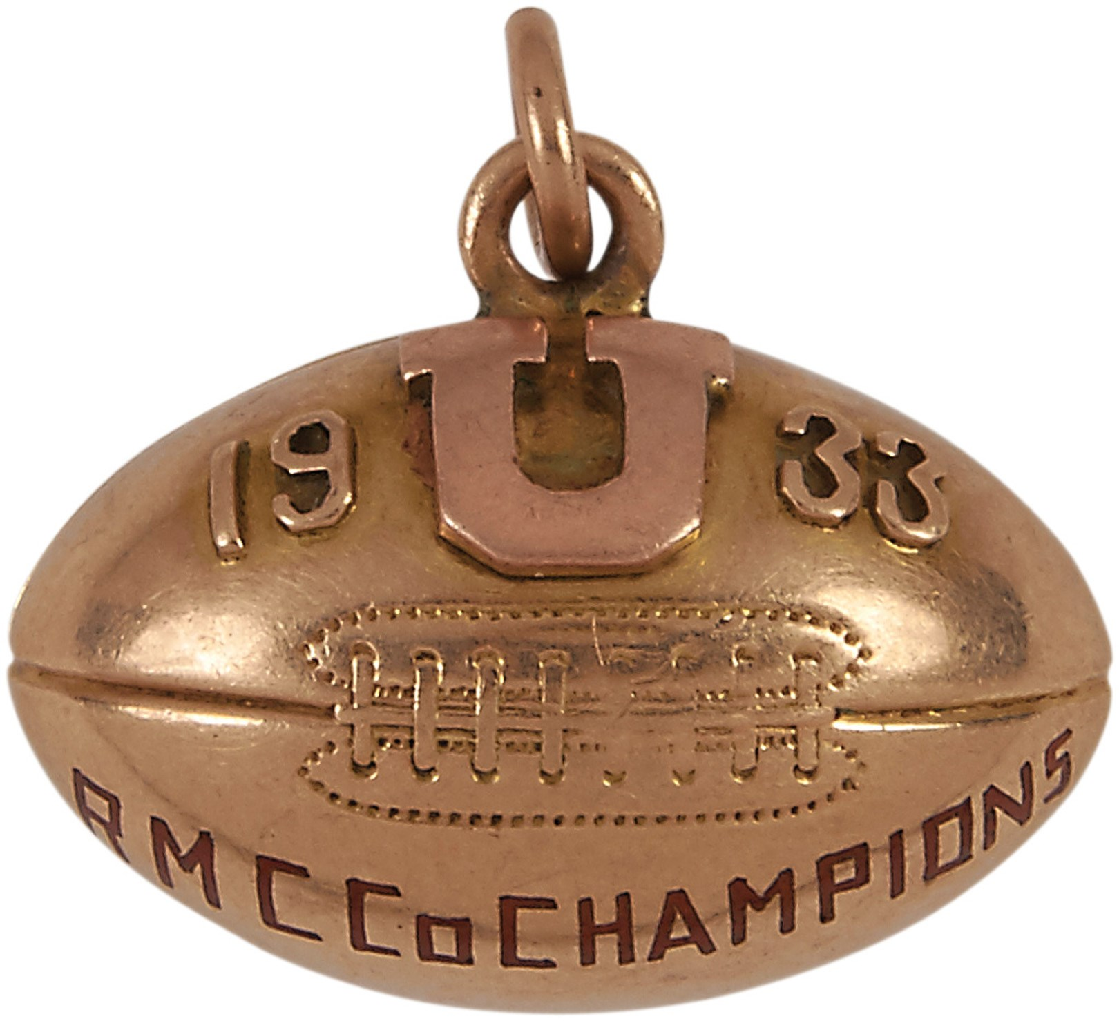 1933 Utah Utes Co-Championship Football Charm - Awarded to T. Swan
