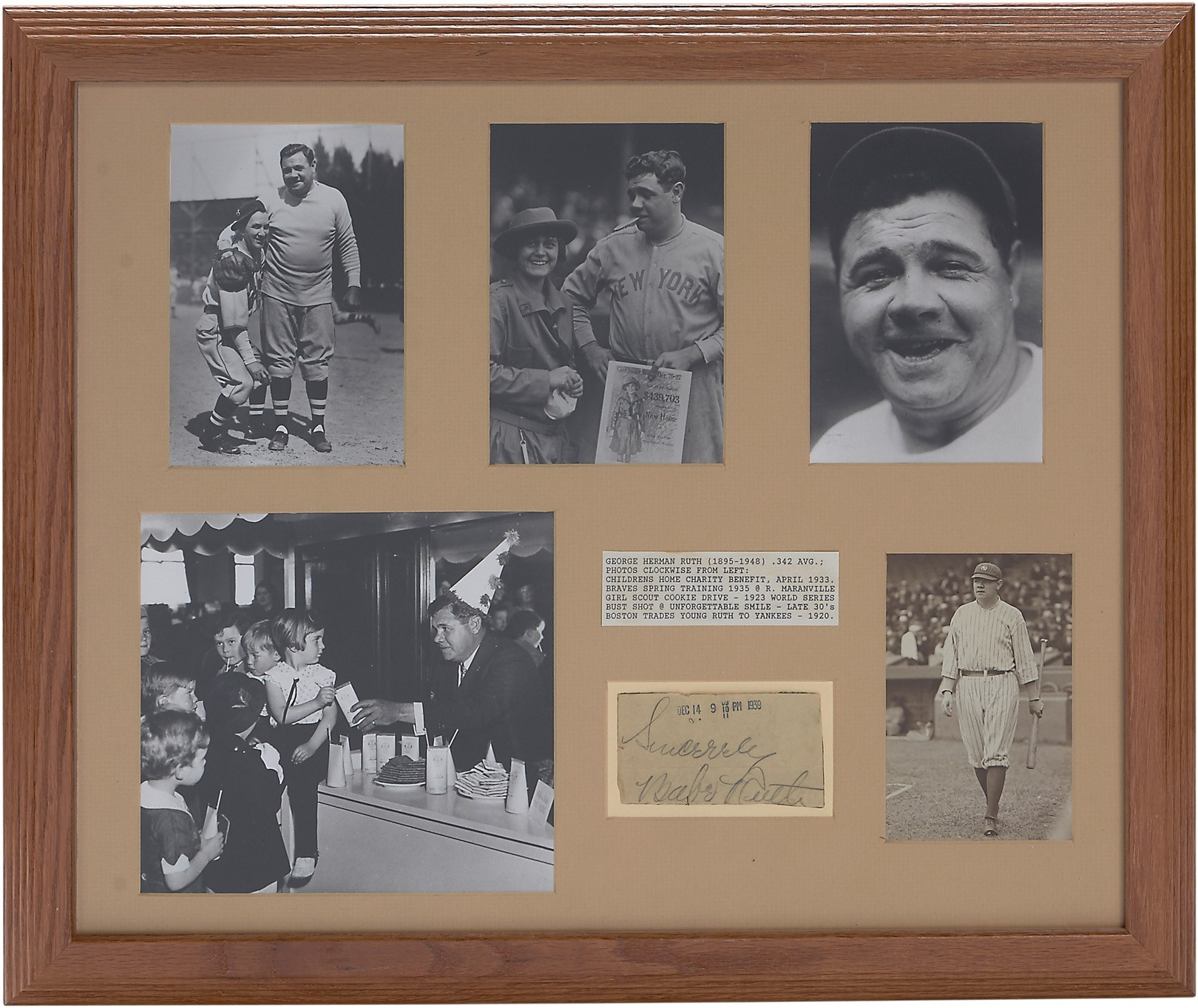 1939 Babe Ruth Signed Ticket Display (PSA)