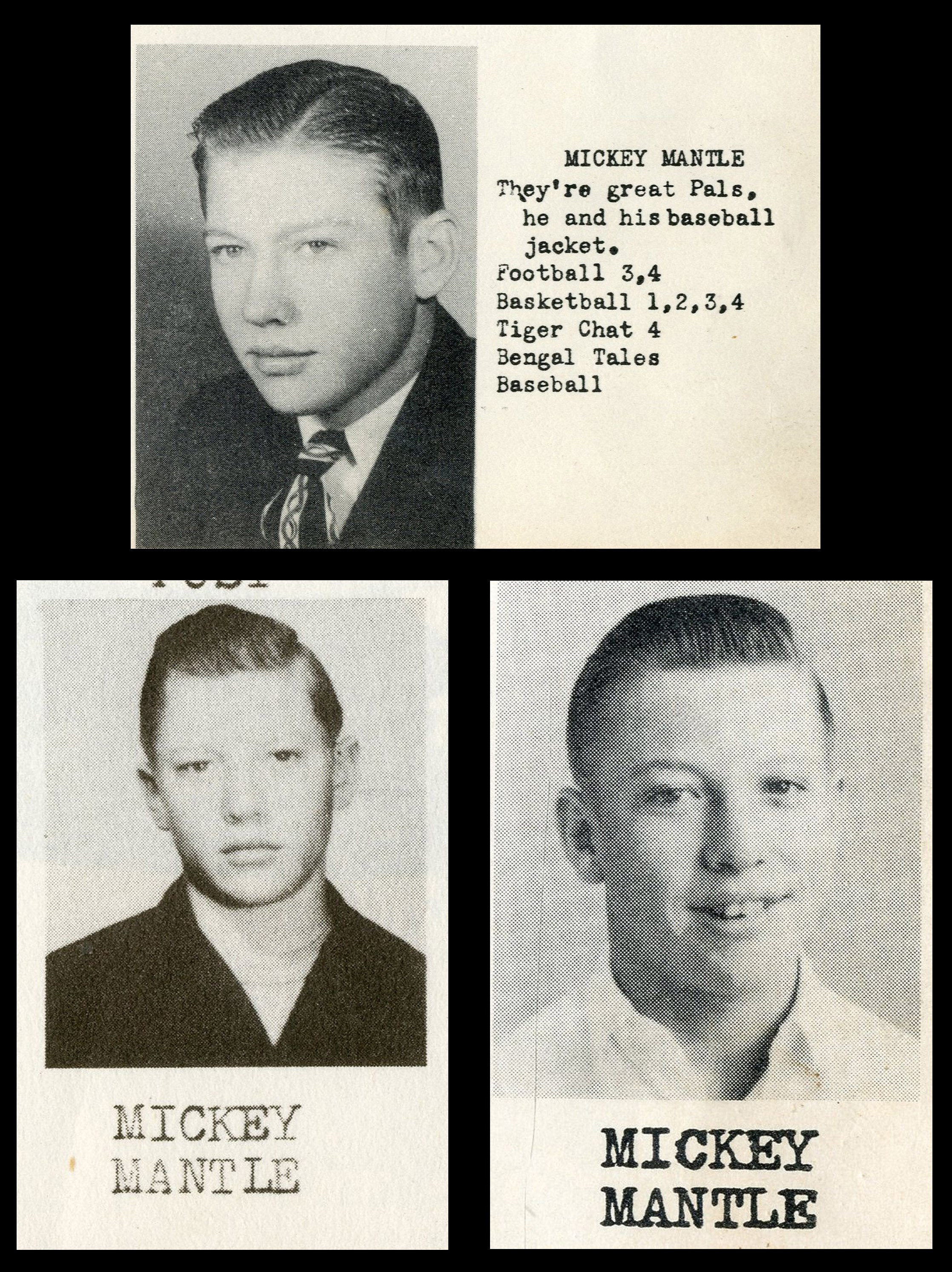 1947-49 Mickey Mantle High School Yearbook Near Complete Set (3)