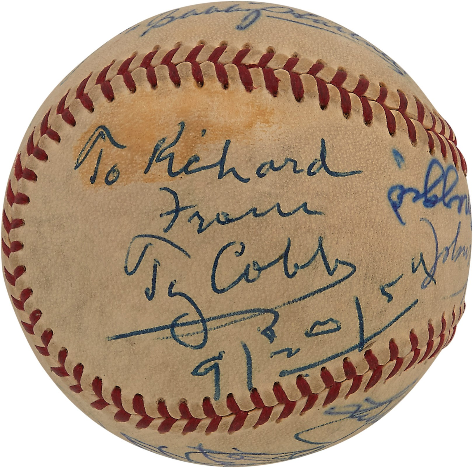 Amazing 1959 Hall of Famers Signed Baseball w/Ty Cobb & Jackie Robinson (PSA)