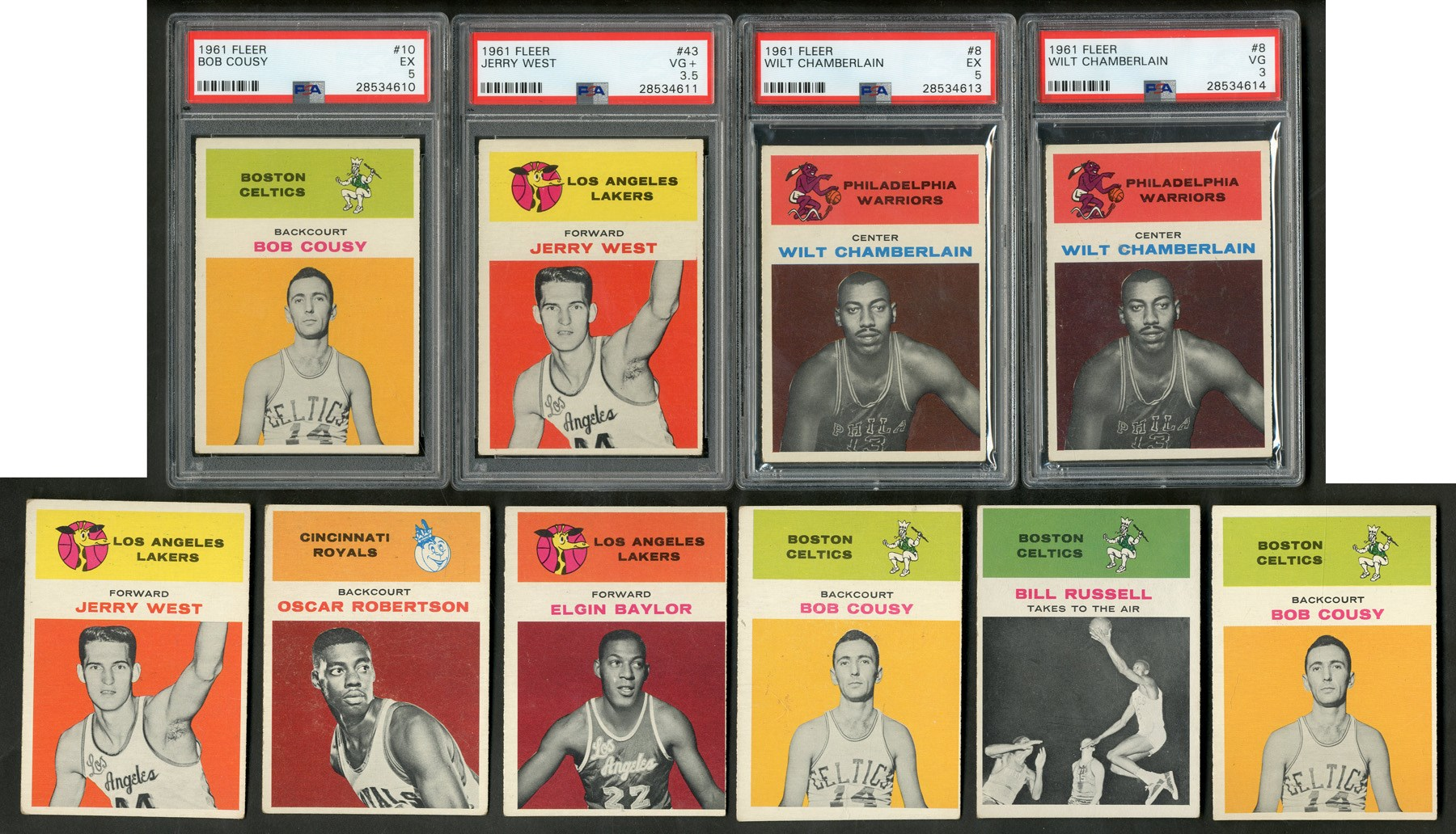 1961 Fleer Basketball Near-Complete Set & Duplicates with Two PSA Chamberlain Rookies