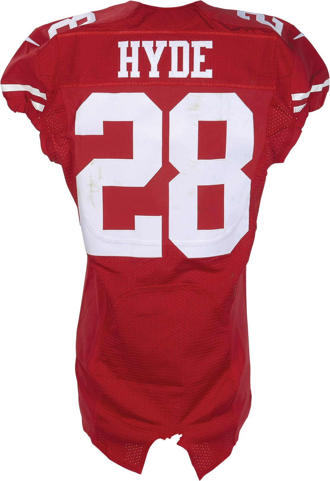10/4/15 Carlos Hyde Game Worn Unwashed 49ers Jersey (NFL Auctions & Photo-Matched)