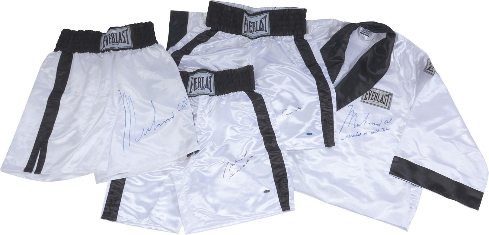 Quality Muhammad Ali & Cassius Clay Signed Trunks and Robe (4)