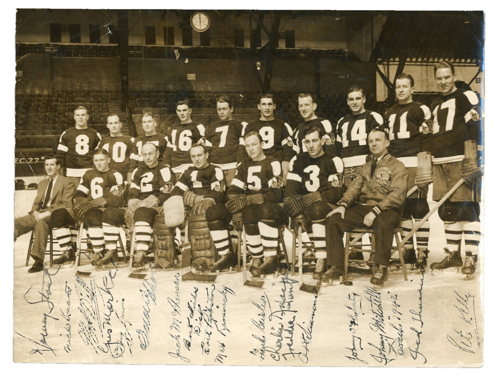 1941-42 Springfield Indians Team-Signed Photograph w/ Eddie Shore (PSA)