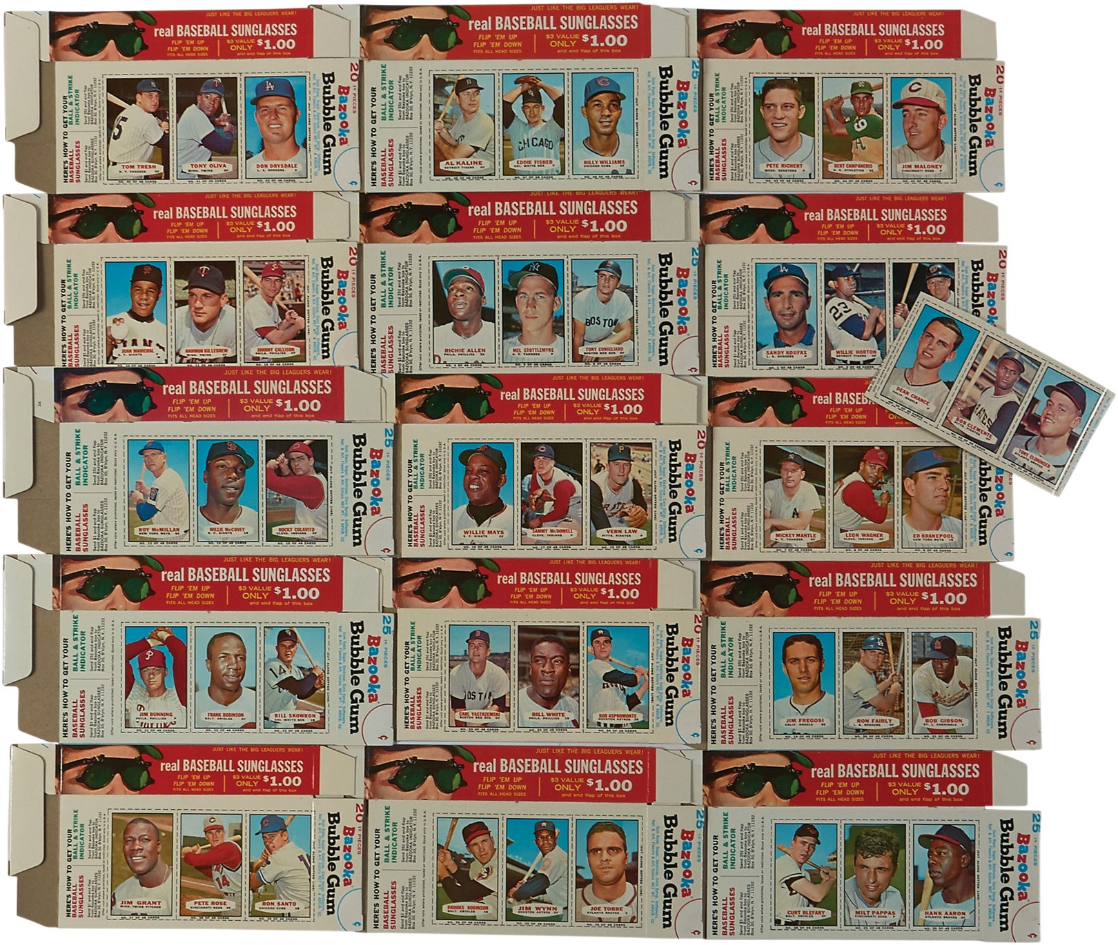 1966 Bazooka Complete Set of 15 Full Boxes and One Panel