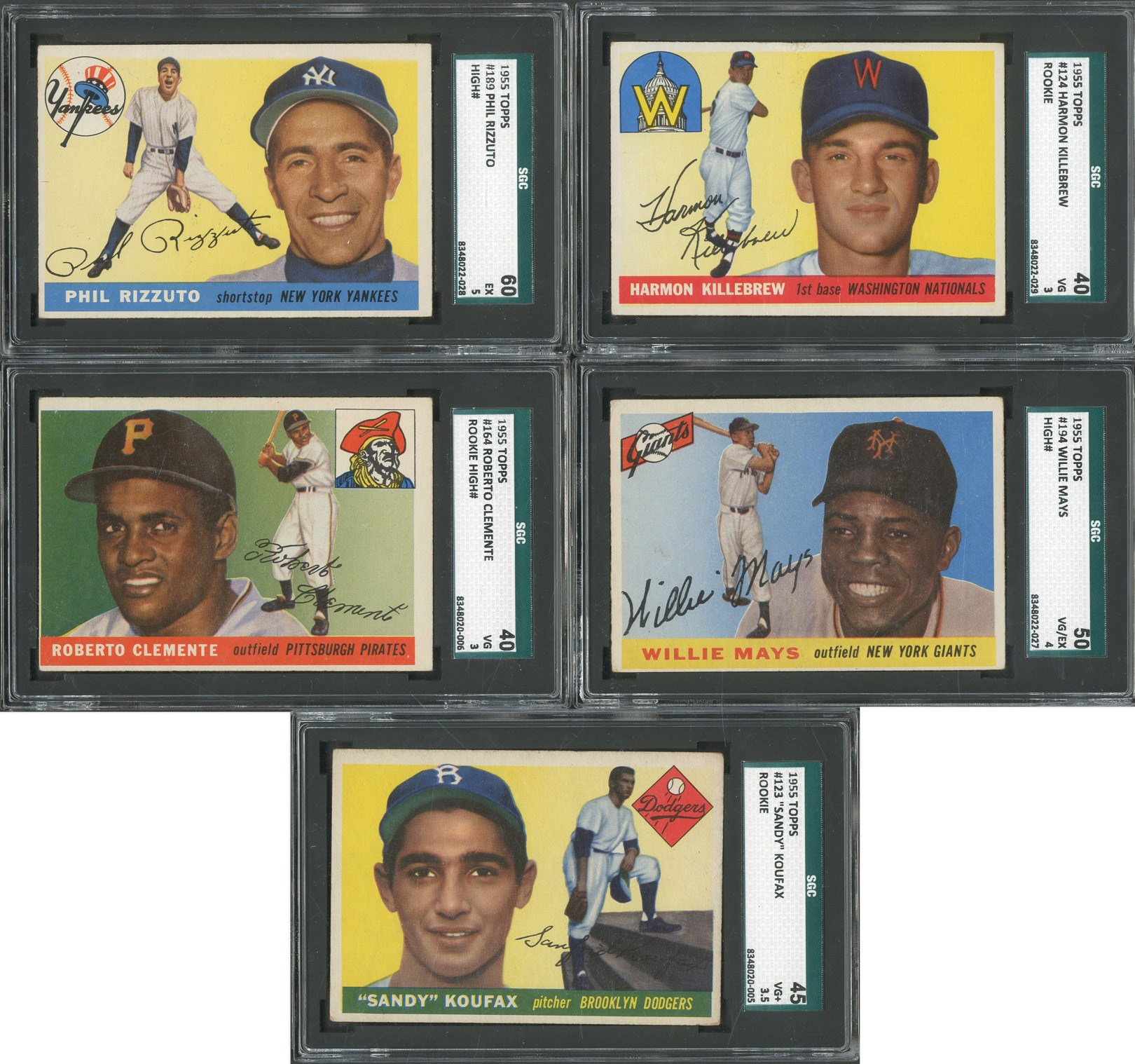 1955 Topps Complete Set (206 Cards - 5 SGC Graded)
