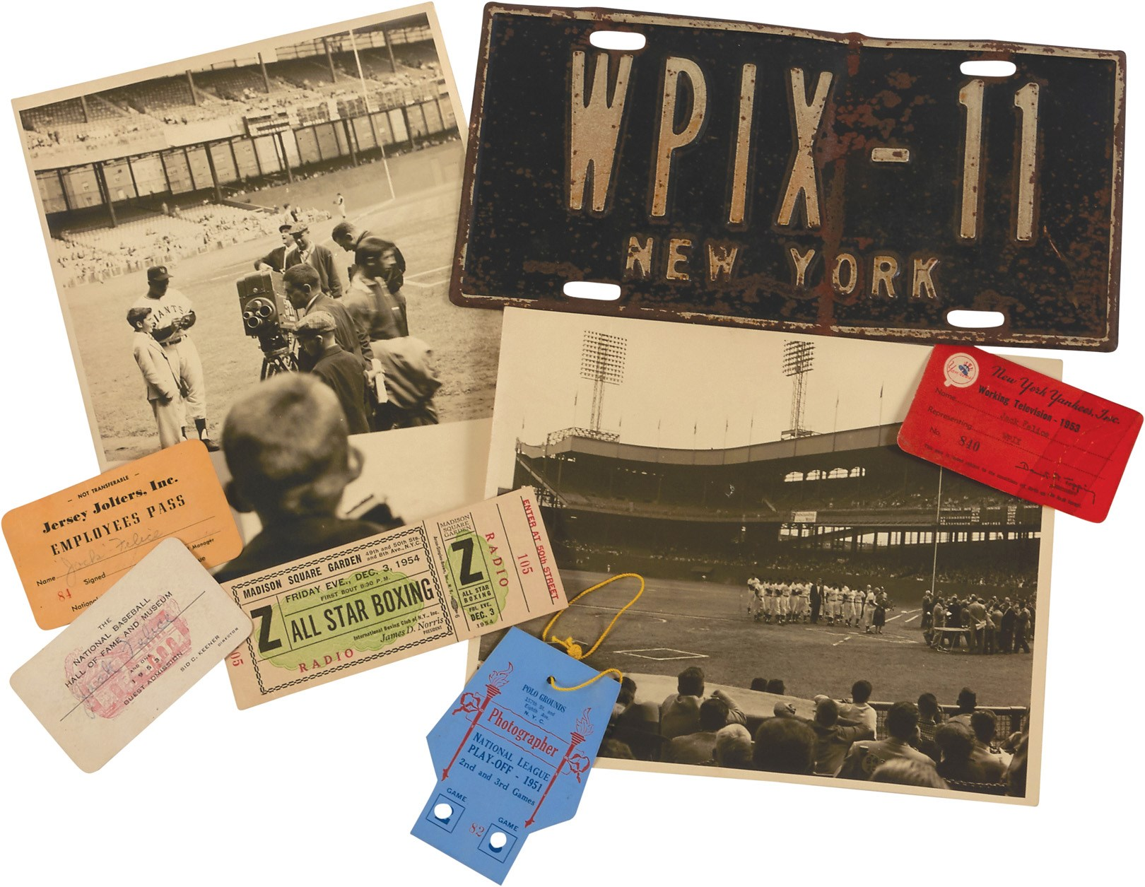 1950s NY Sports Ticket, Pass & Photo Collection - from WPIX 11 Emmy Winner