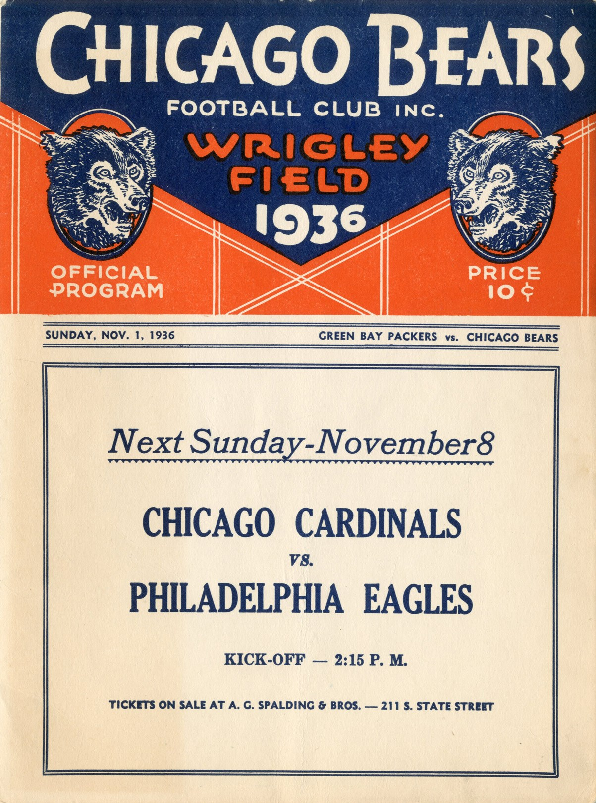 1936 Chicago Bears vs. Green Bay Packers Program