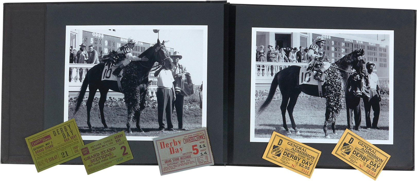 1953 Kentucky Derby Photos in Official Binder (25) & Tickets (5)