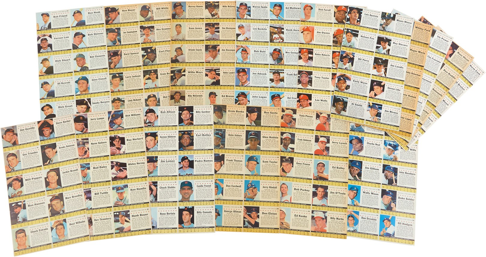 1961 Post Cereal Team Sheets (Complete Set of 16 Uncut Sheets)