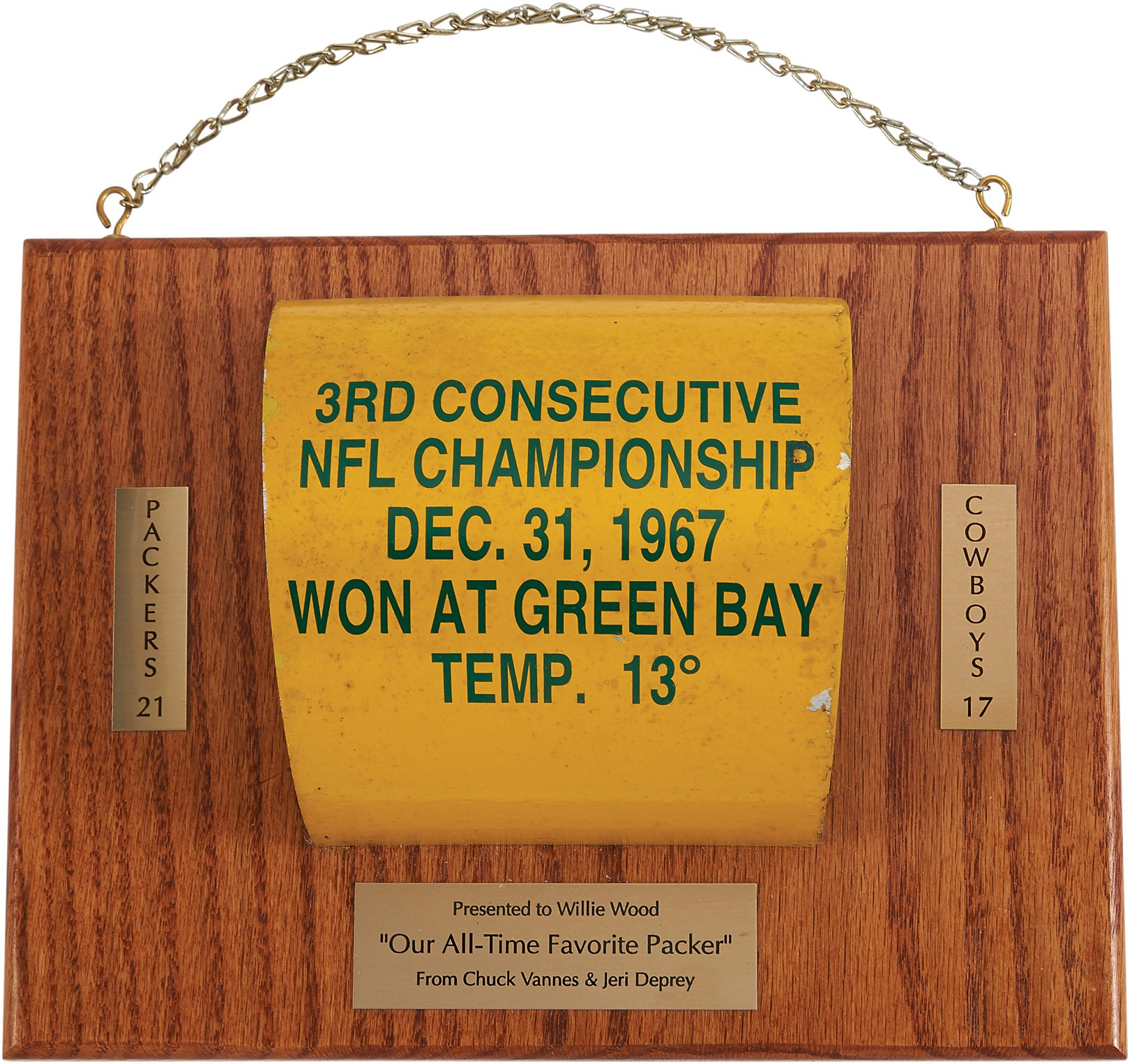 1967 Ice Bowl Game Goalpost Section Presented to Willie Wood