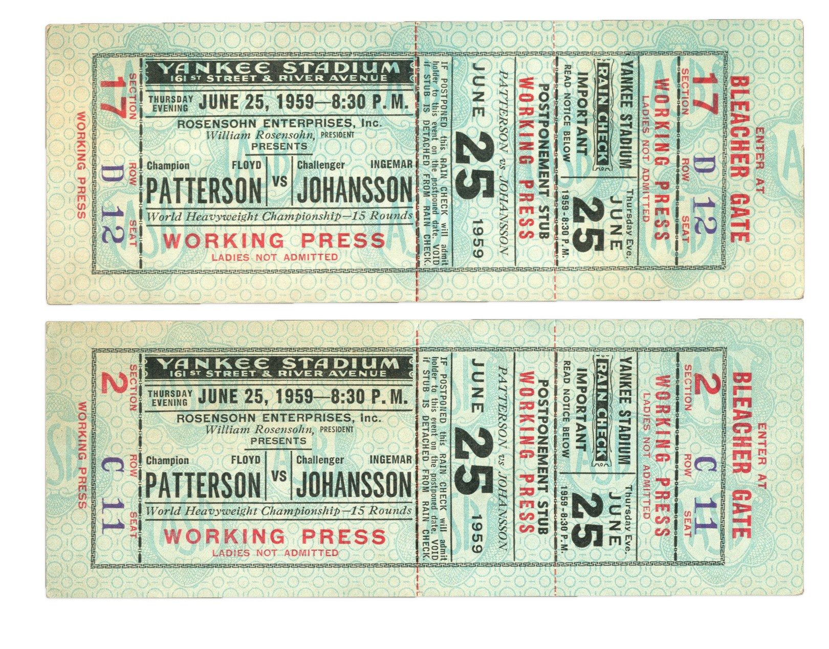 Pair of 1959 Floyd Patterson v. Ingemar Johansson I Full Tickets