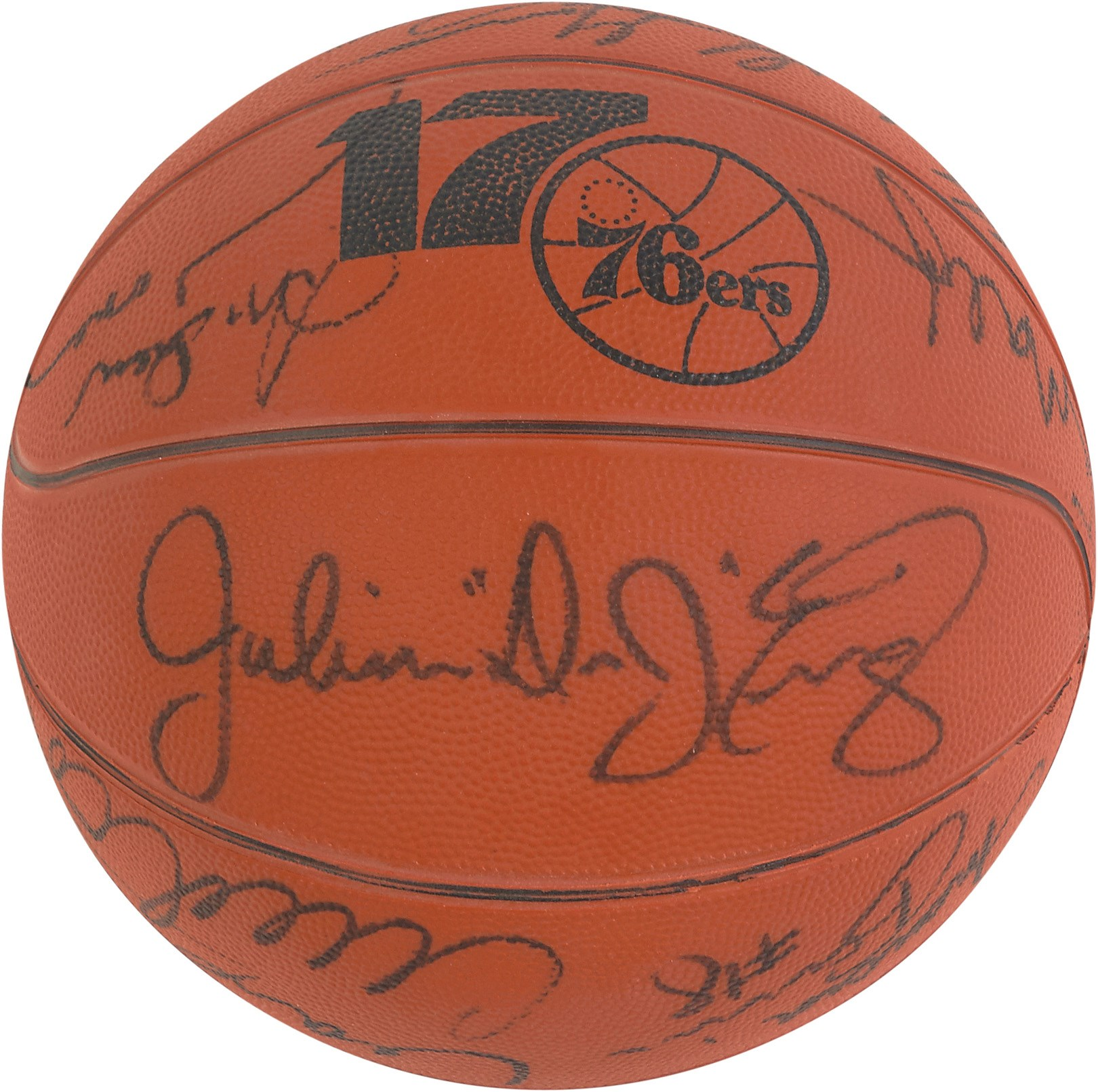 1982-83 World Championship Philadelphia 76ers Signed Basketball (TV Station Promo Prize)