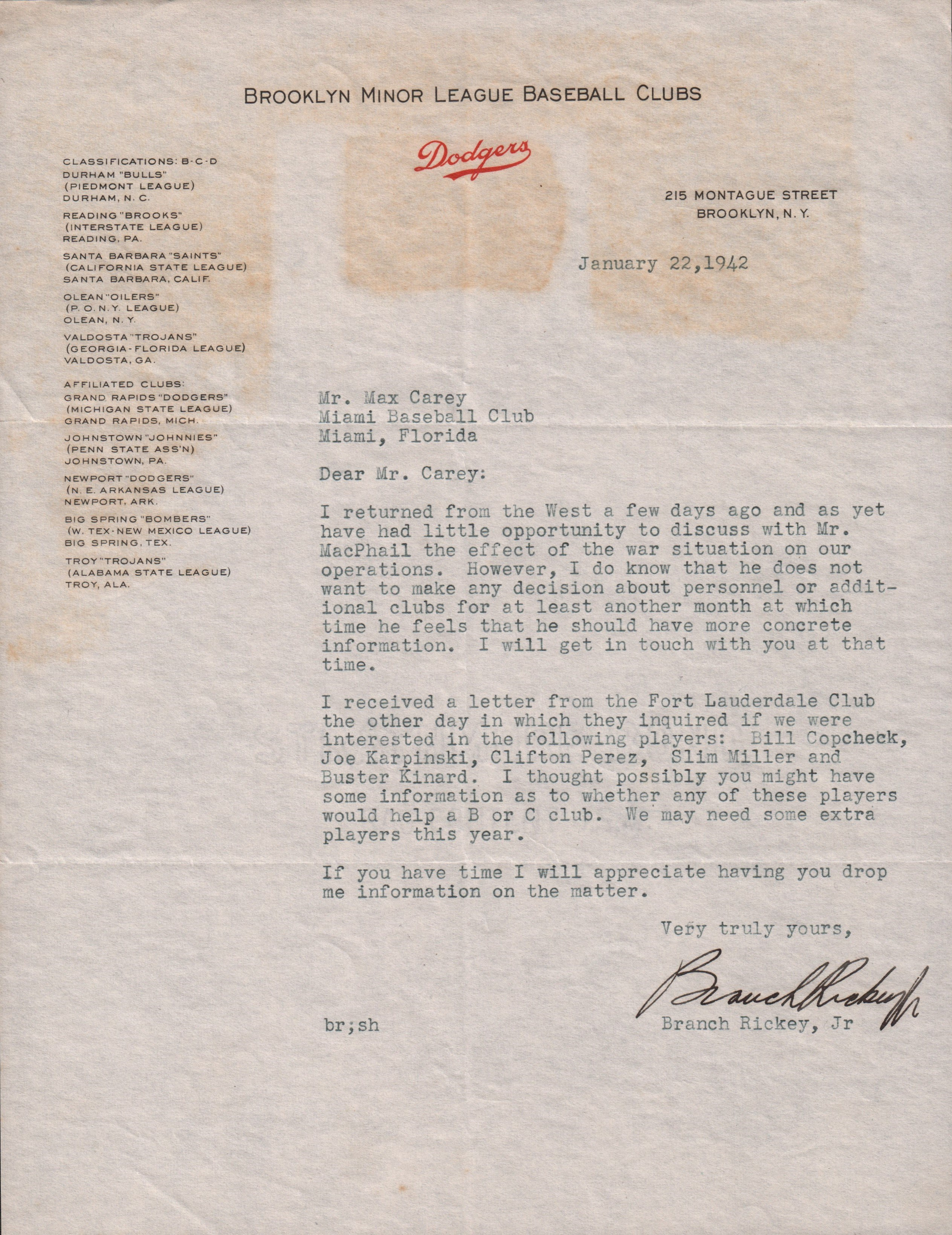 Two Branch Rickey Jr. Letters to Max Carey