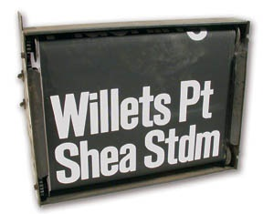 1960's Shea Stadium Bus Sign (22x16x6
