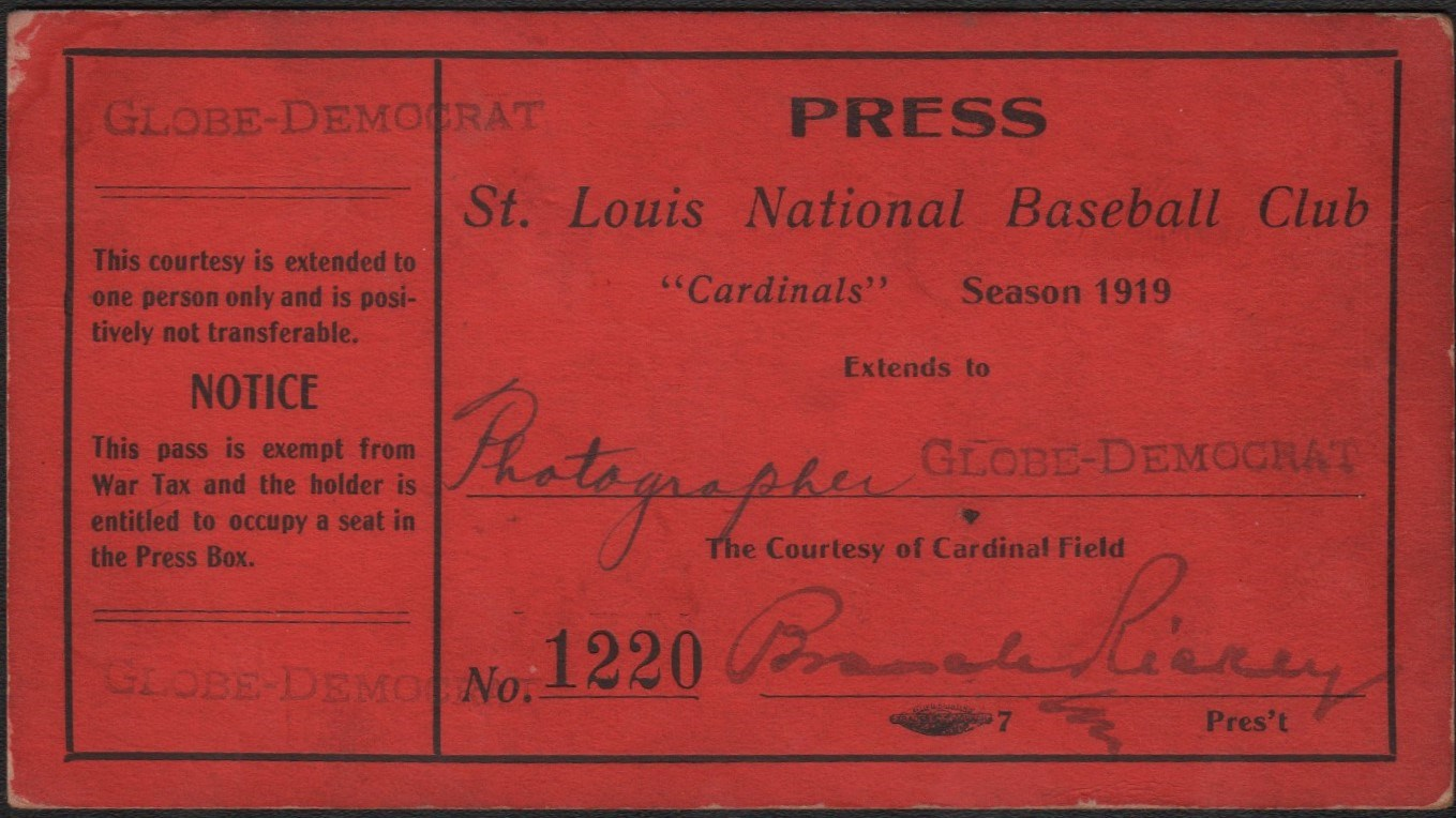 Branch Rickey 1919 St. Louis Cardinals Club Season Pass