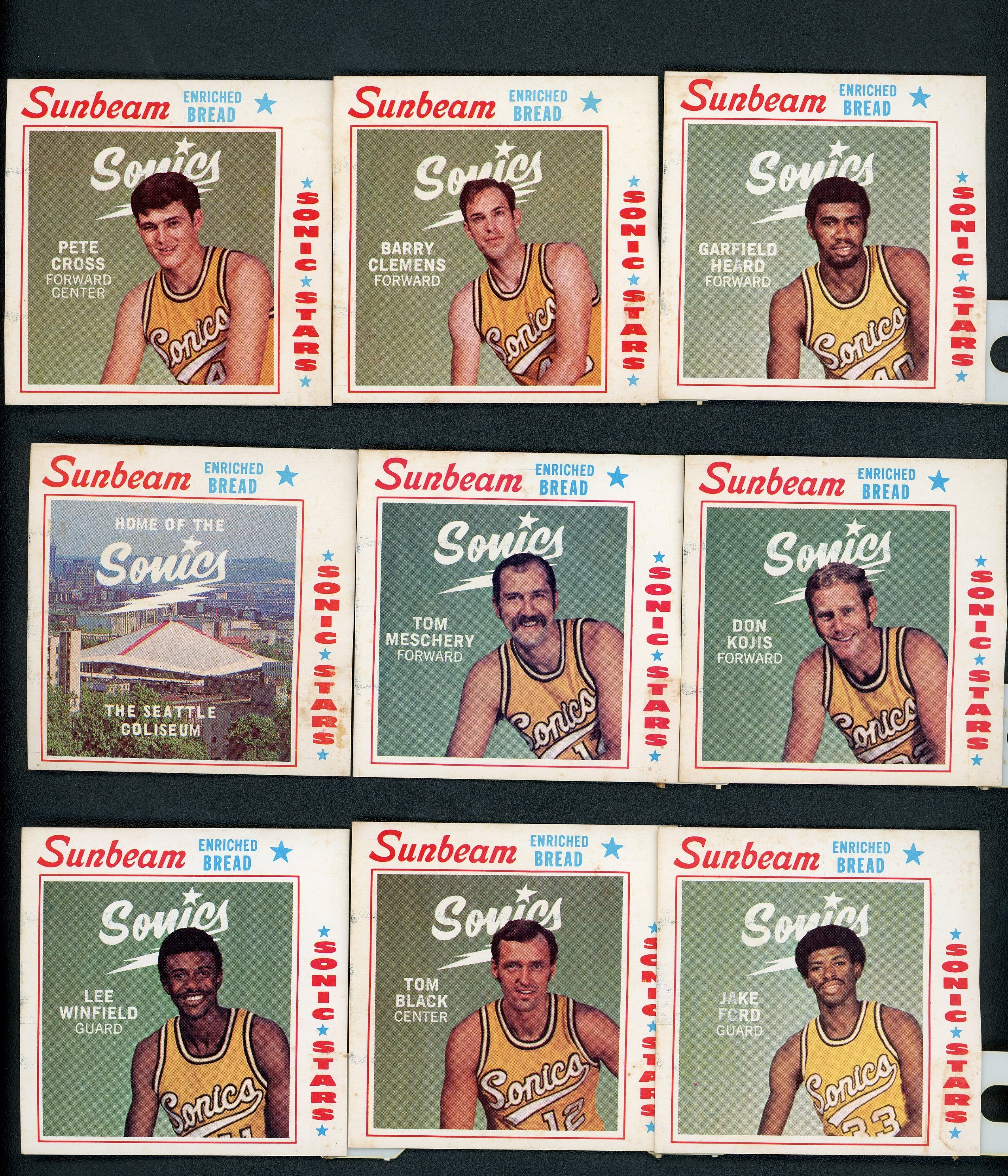 1970 Seattle Sonics Sunbeam Bread Tags (8)