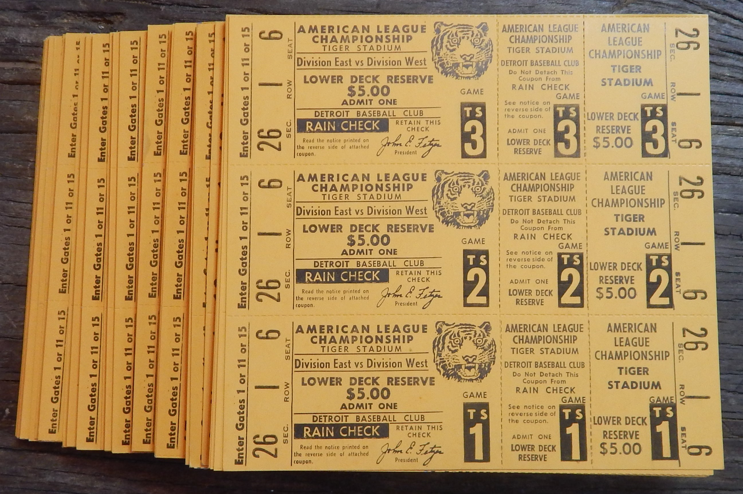 1972 Detroit Tigers LCS Full Tickets (300)