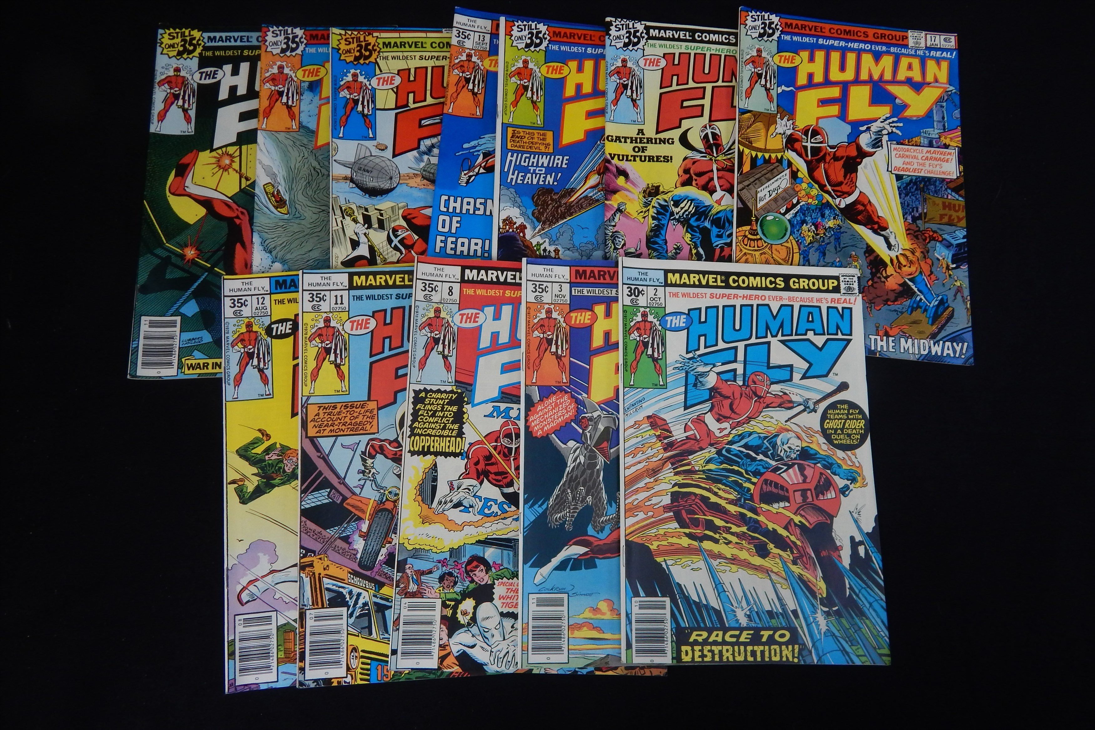 High Grade 1977 Human Fly Marvel Comics Lot (12) - Fastidious Uncle Collection