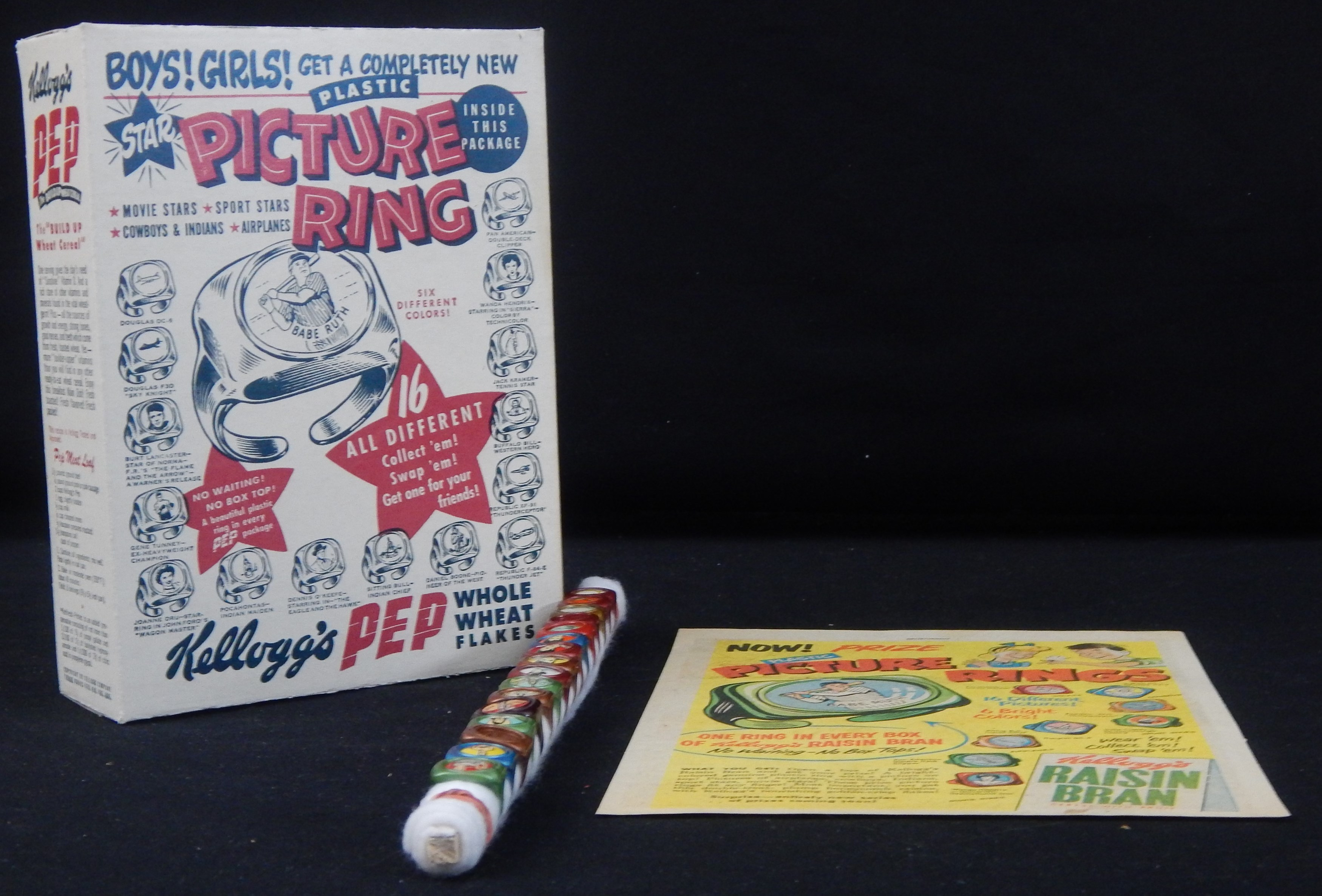 Babe Ruth 1951 Kellogg's Premium Ring Complete Set & Original Cereal Box