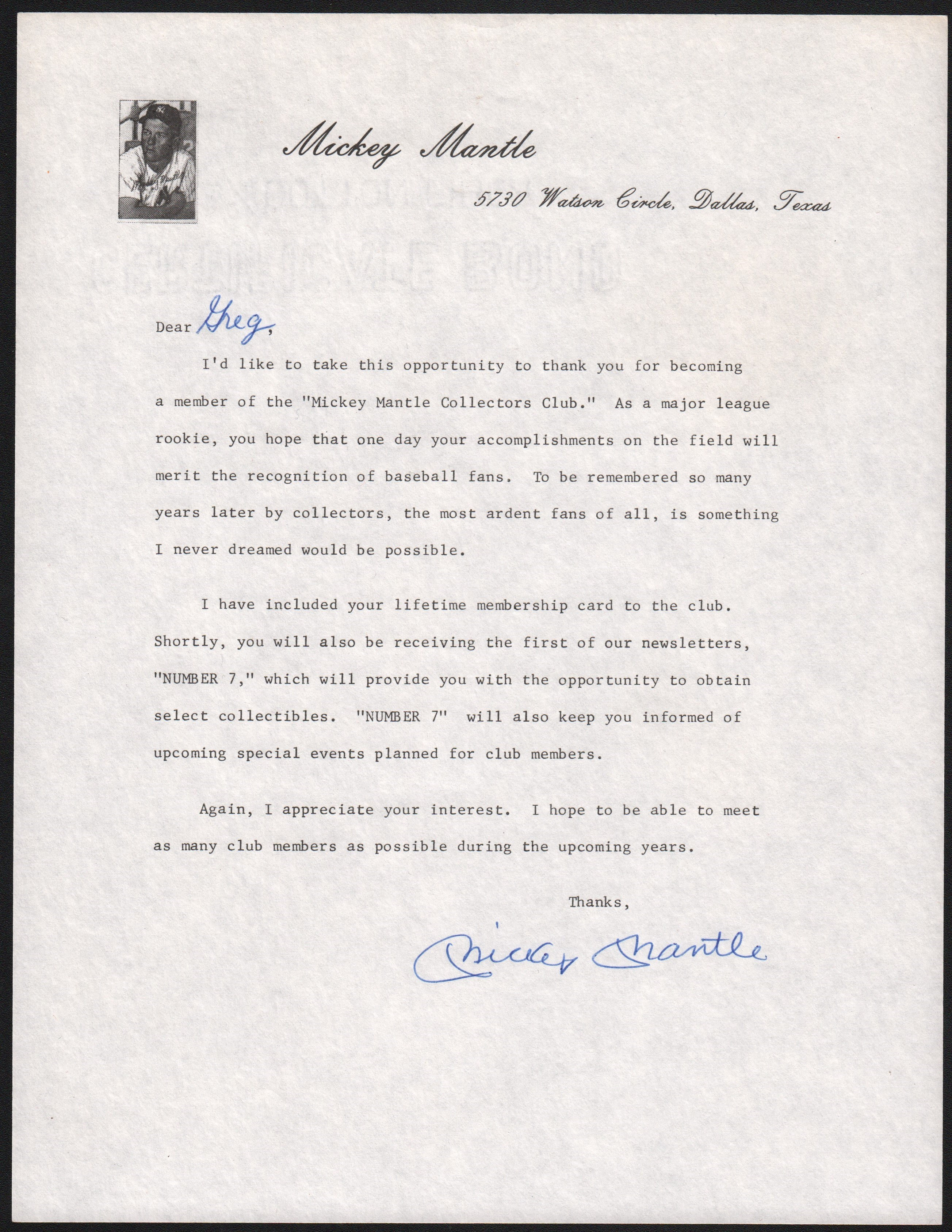 Gorgeous 1985 Mickey Mantle Signed Letter w/Collectors Club Kit