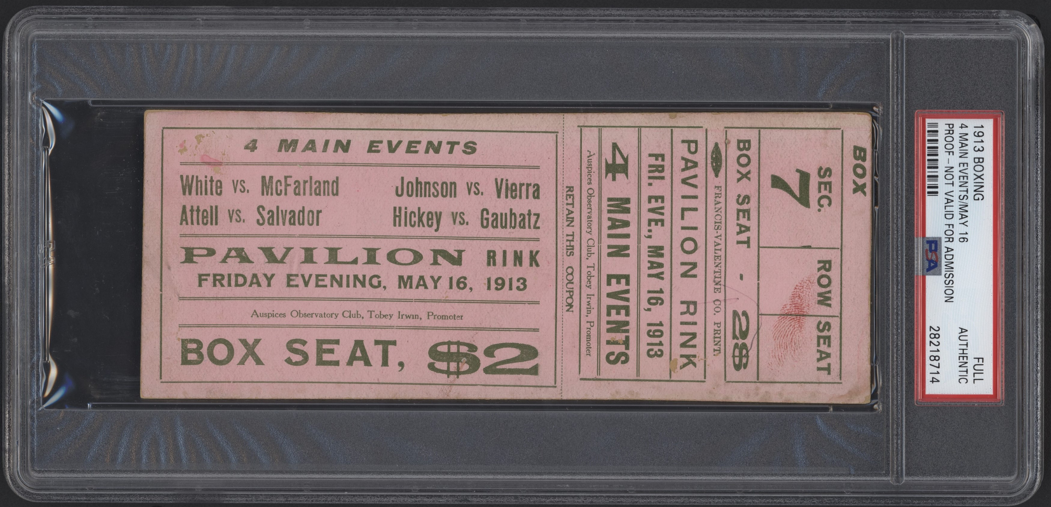 1913 Boxing Full Ticket