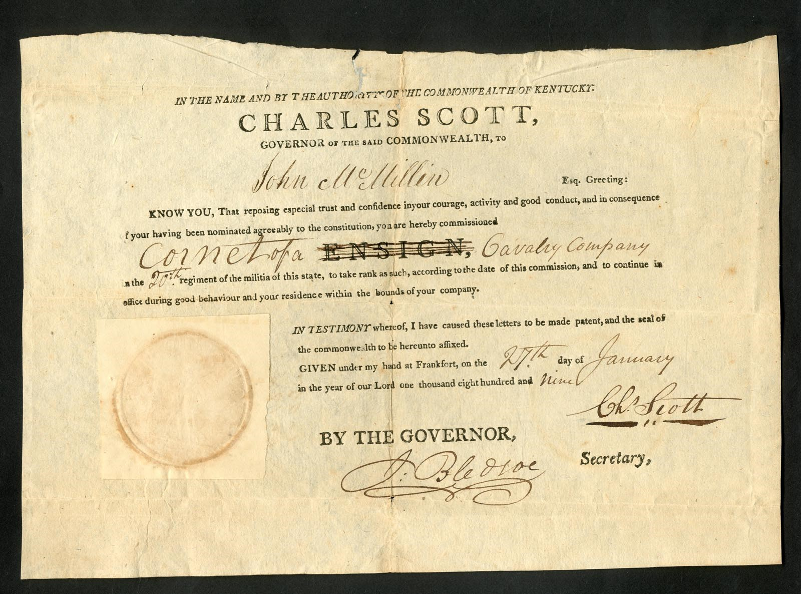 George Washington Colonel Charles Scott 1809 Signed Document (PSA)