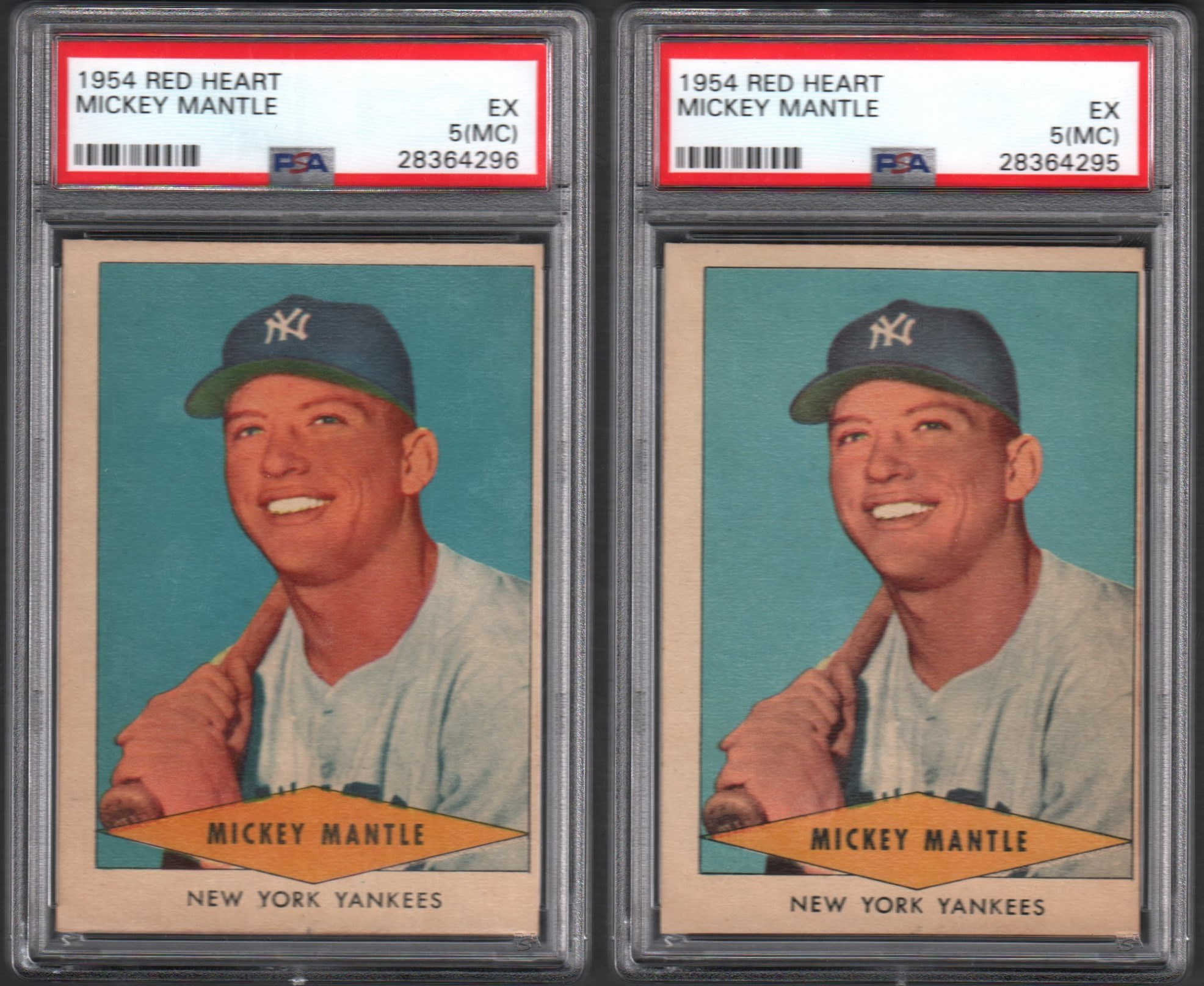 1954 Red Heart Mickey Mantle Pair of Cards