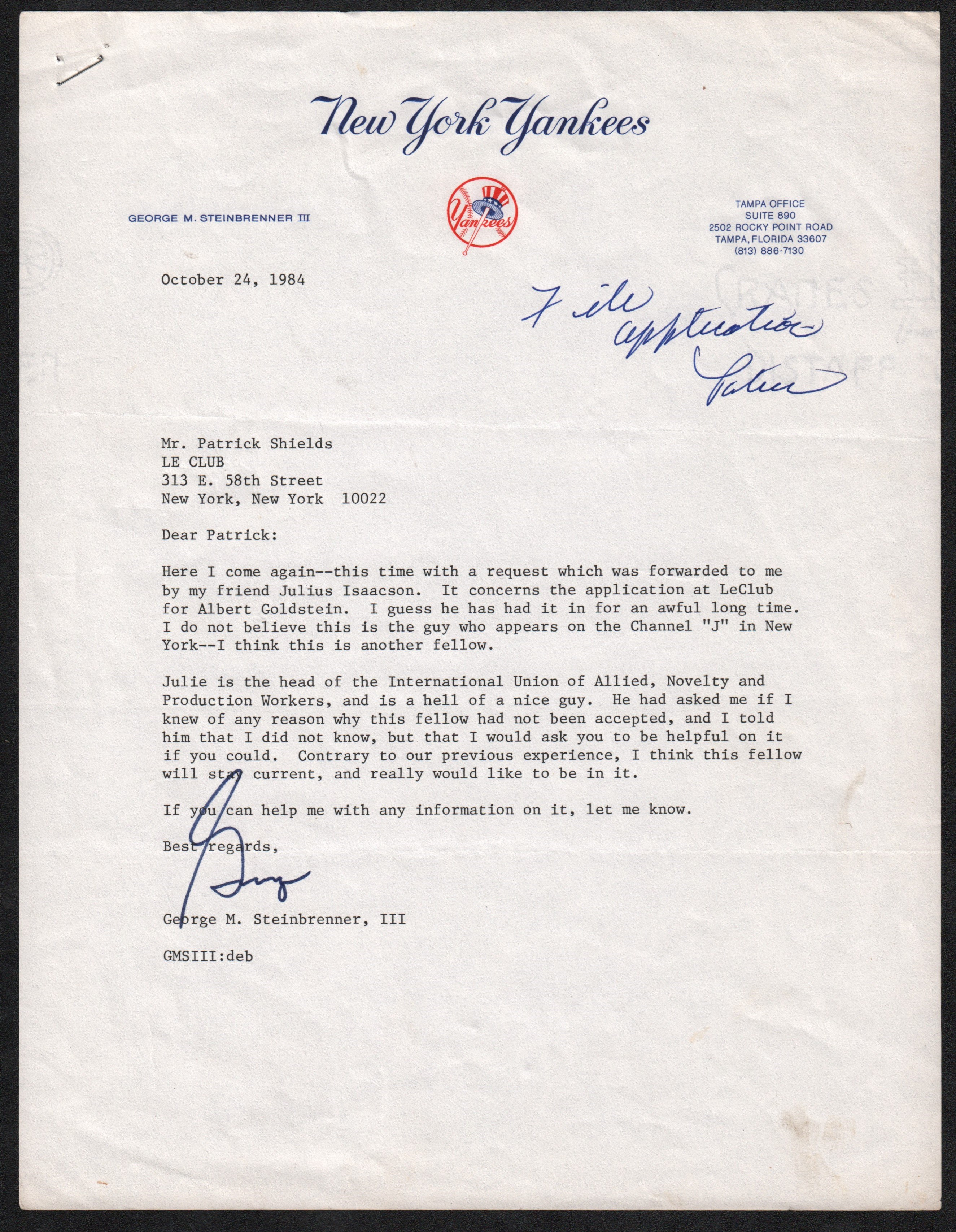 1984 George Steinbrenner Signed Letter on Yankees Stationary
