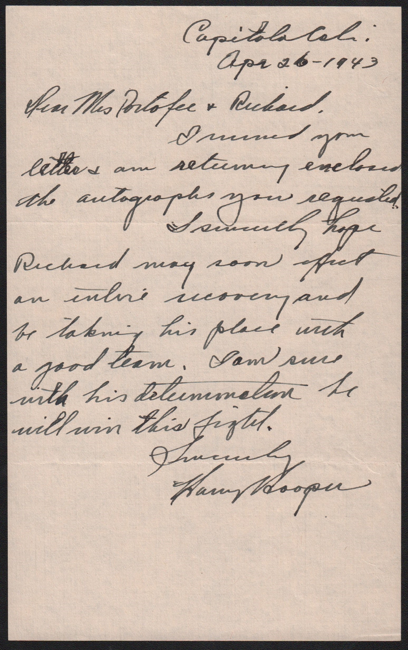 Harry Hooper Handwritten Letter
