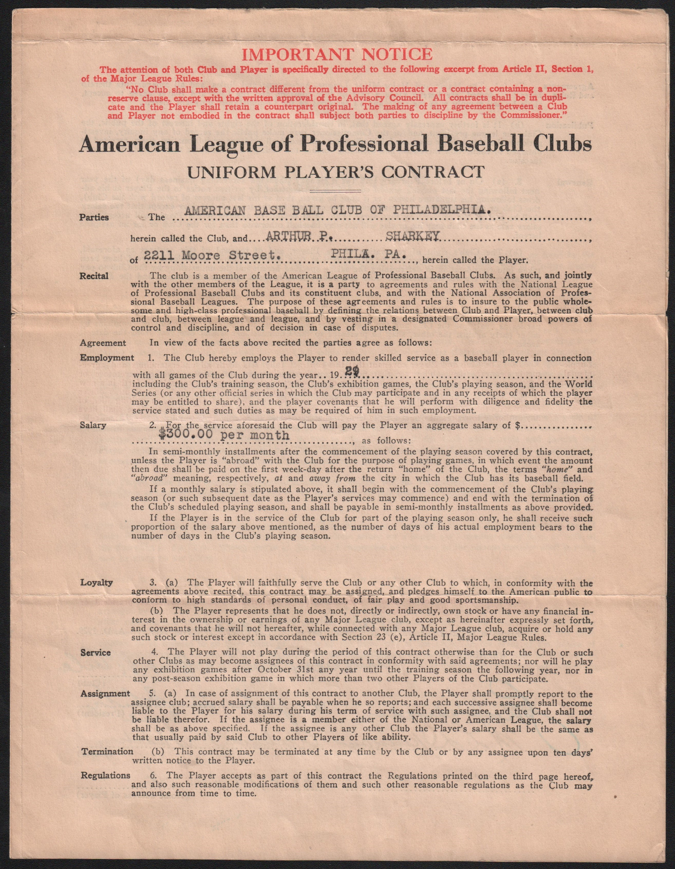 1929 Arthur Sharkey World Championship Year Signed Philadelphia Athletics Contract