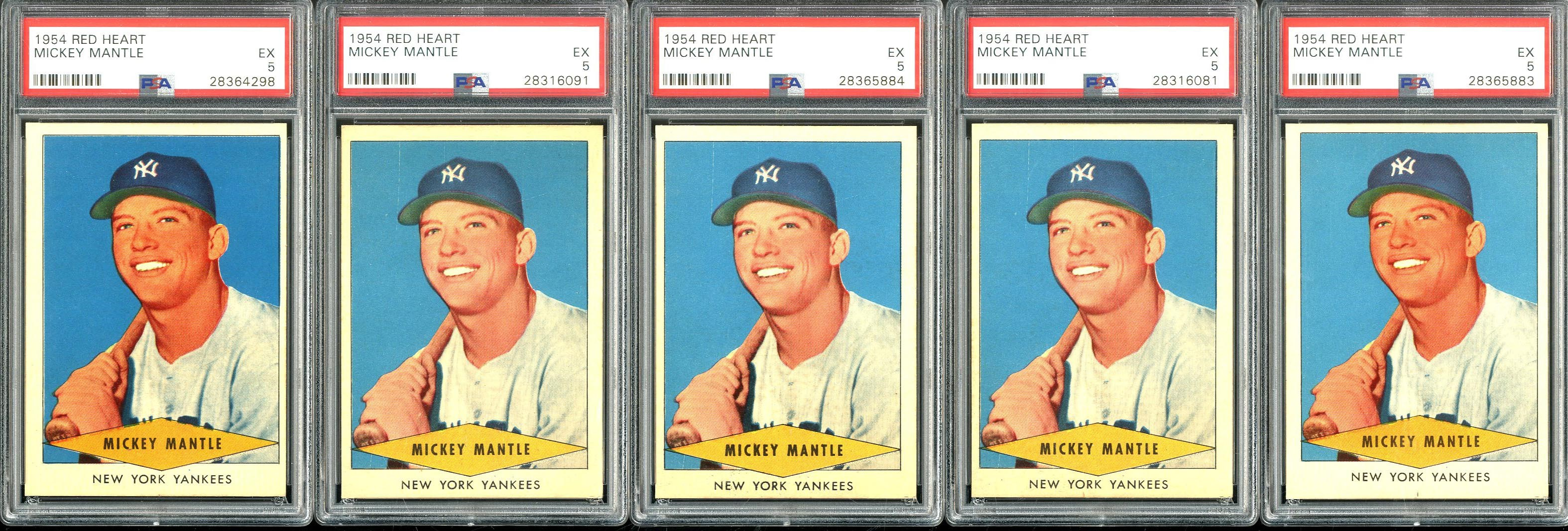 1954 Red Heart Mickey Mantle PSA Graded Lot (5)