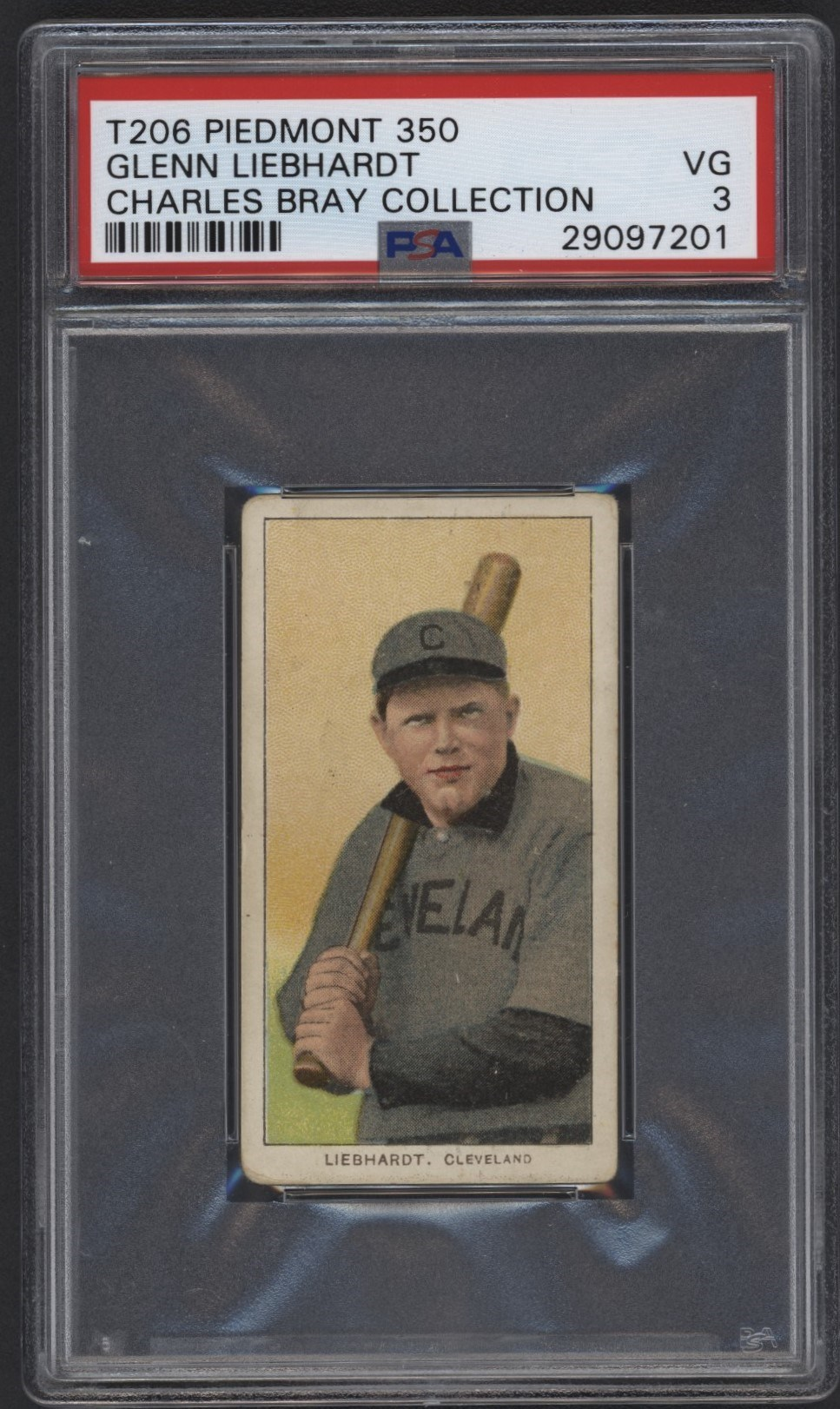T206 Piedmont 350 Glenn Liebhardt PSA 3 From the Charles Bray Collection