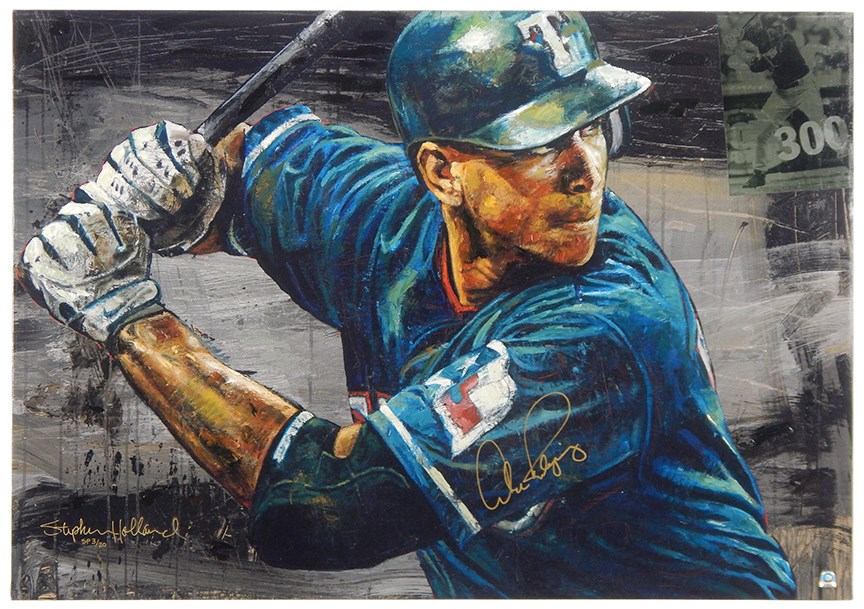 Alex Rodriguez Texas Rangers Signed Limited Edition Giclee Artwork by Stephen Holland