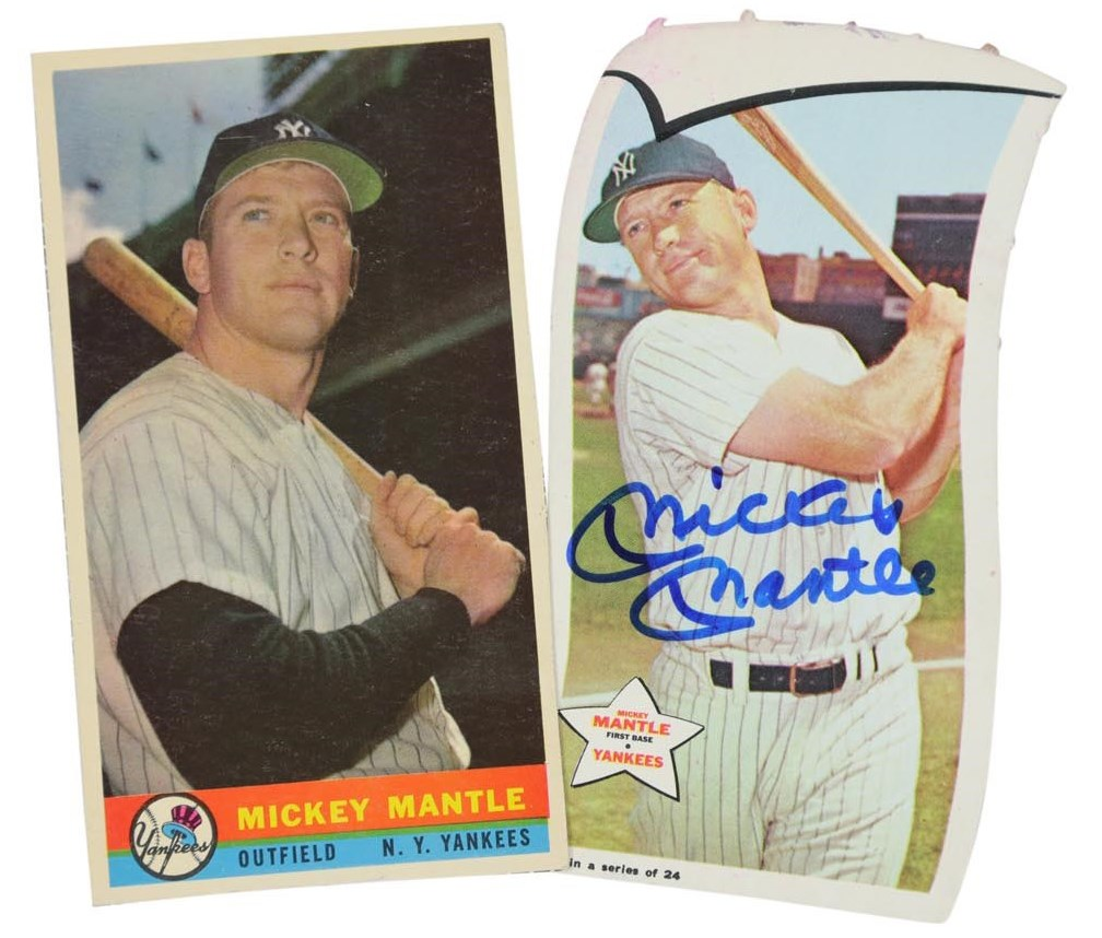 Pair of Rare 1950s-60s Mickey Mantle Bazooka Items - One Signed