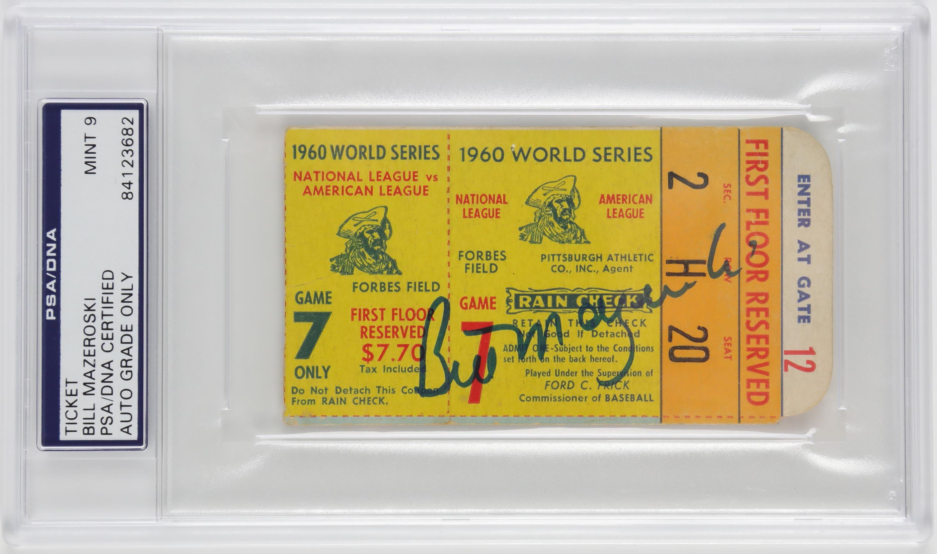 1960 World Series Game 7 Ticket Signed by Bill Mazeroski (PSA MINT 9)