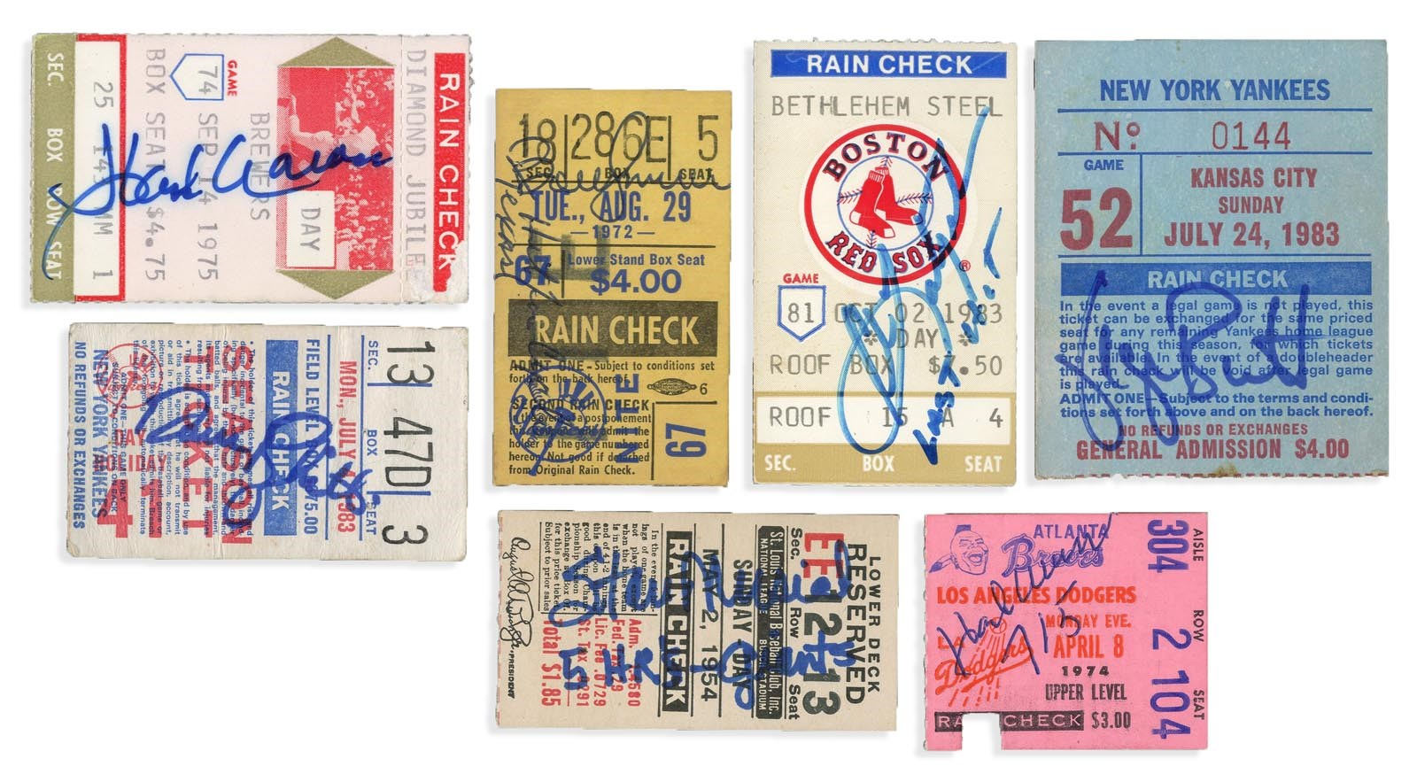 Great Baseball Milestone Signed Ticket Collection (25+)