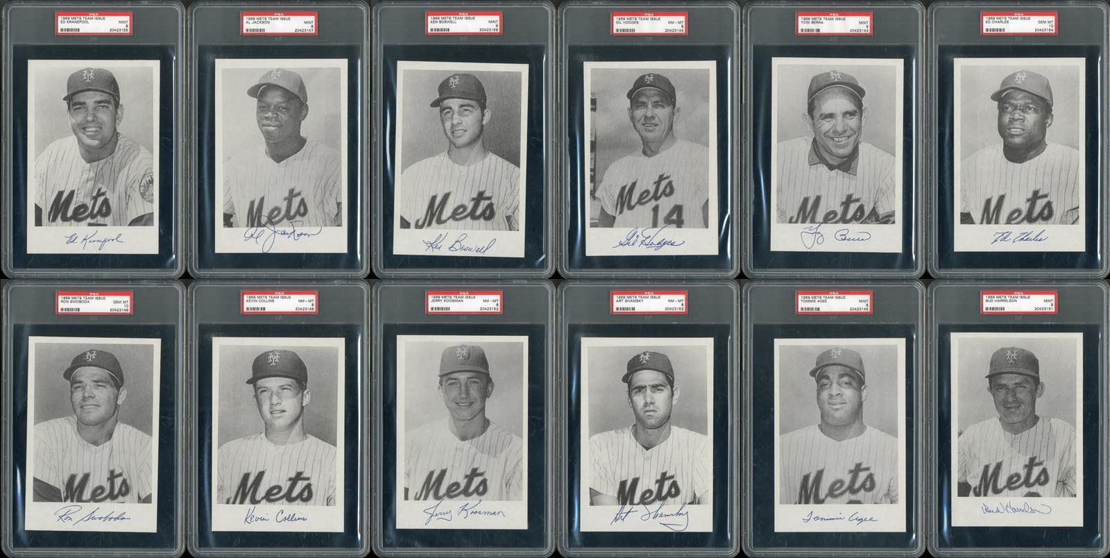 1969 Mets Team Issue PSA Graded Near Complete Set w/Two PSA 10's (All Pop 1's)