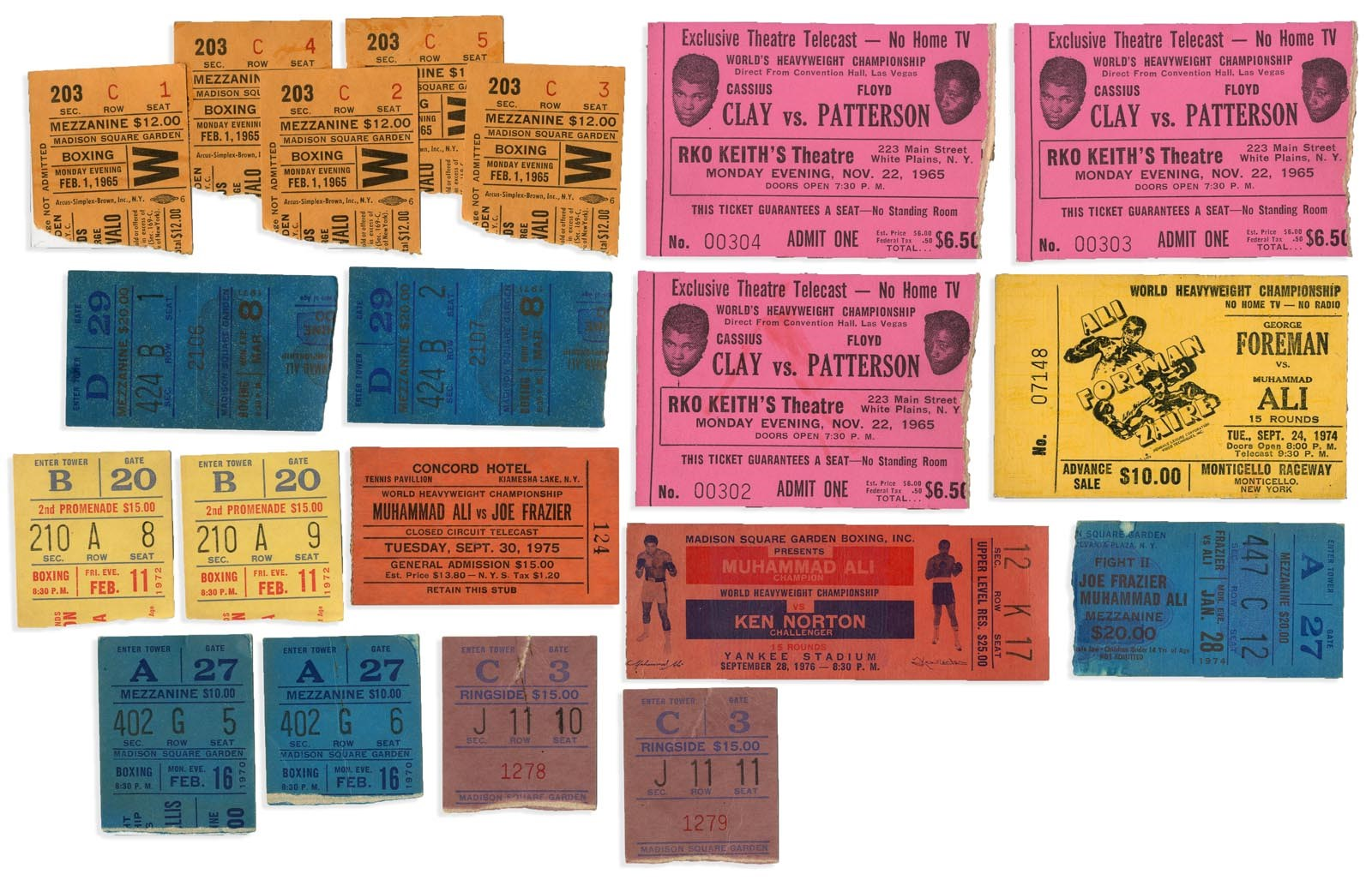 1950s-60s Boxing Ticket Collection w/Cassius Clay (20)