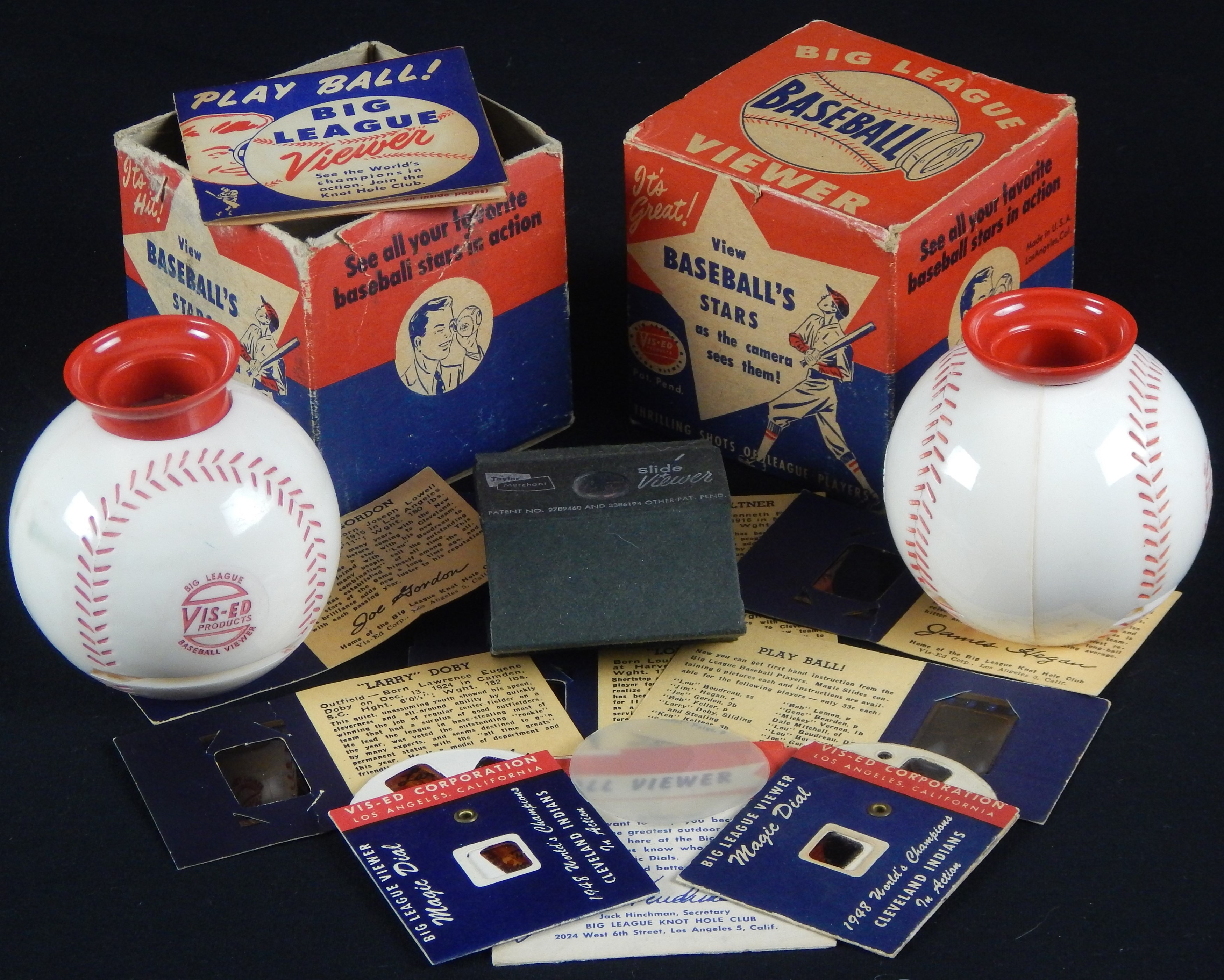 1949 Vis-Ed Magic Dial Viewers with Babe Ruth Cards Plus Pictures 1941 World Champion Cleveland Indians
