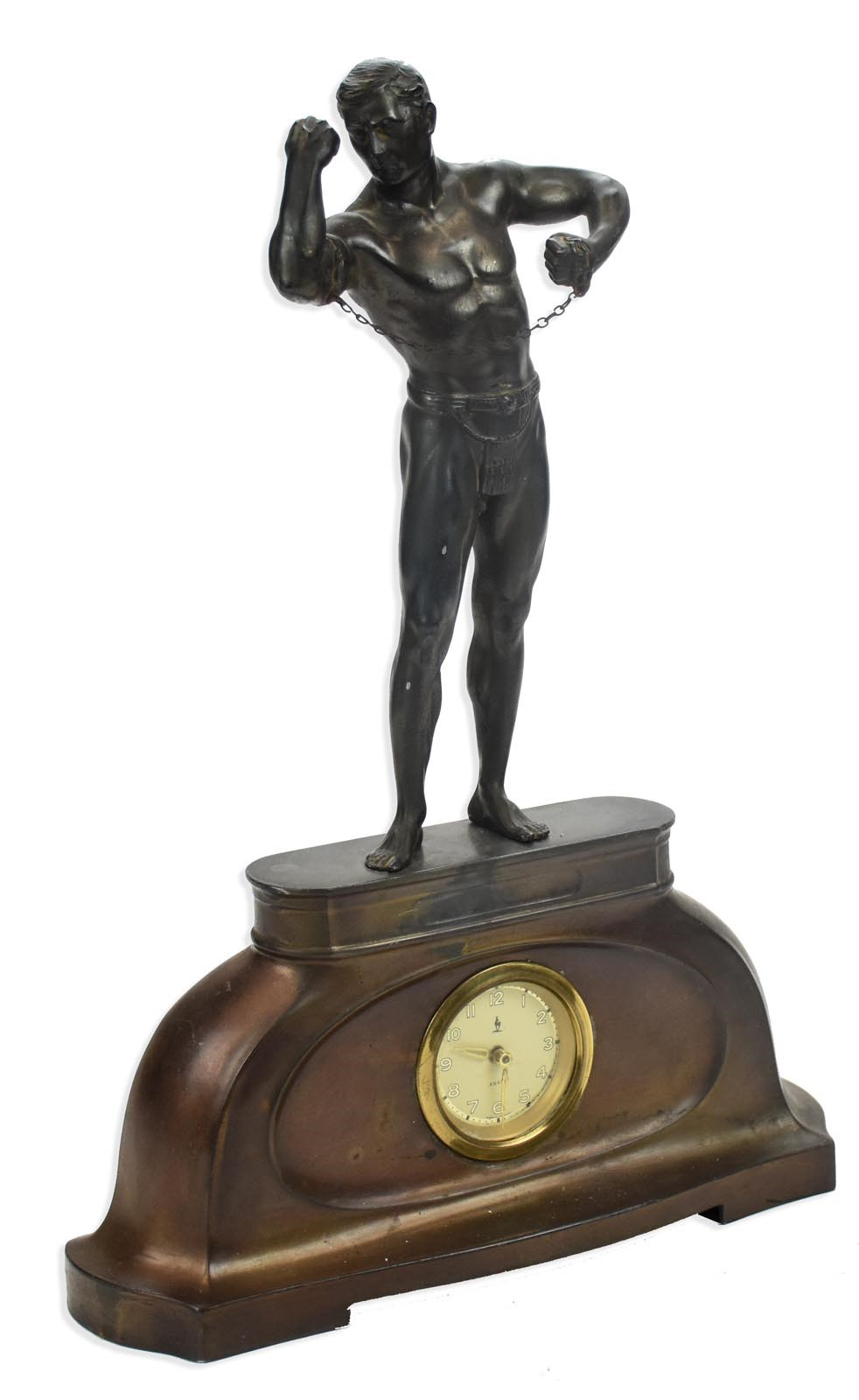 1920s Muscled Strongman Art Deco Clock