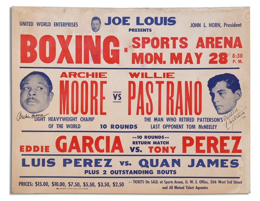 1962 Archie Moore vs. Willie Pastrano Signed On-Site Boxing Poster