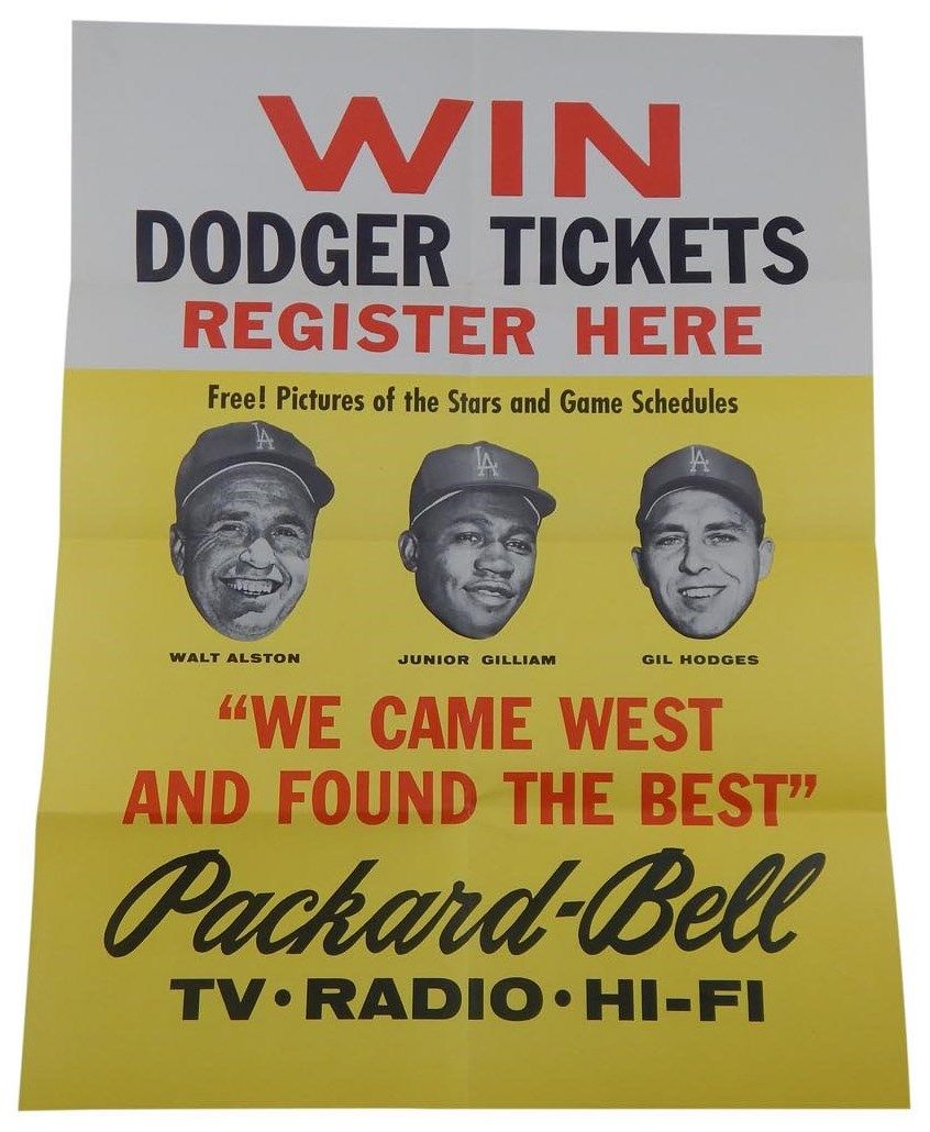 1958 Los Angeles Dodgers Packard-Bell Advertising Poster to Advertise Card Set