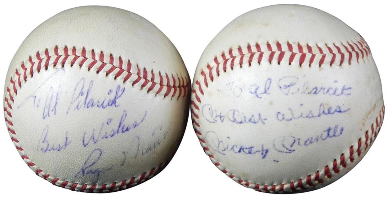Mickey Mantle and Roger Maris Signed and Inscribed Baseballs (PSA)