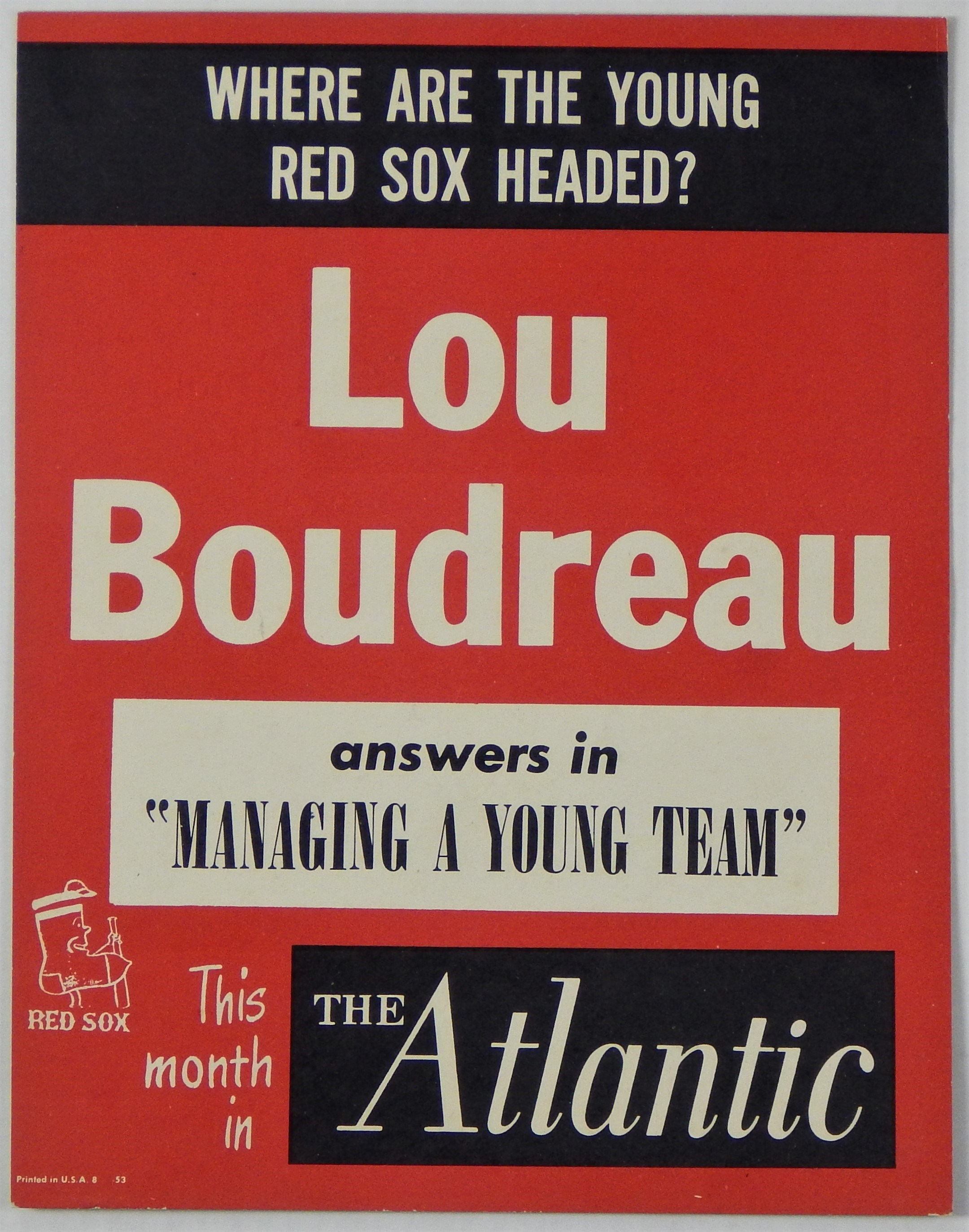 1950 Lou Boudreau Boston Red Sox Advertising Sign 14x10.5