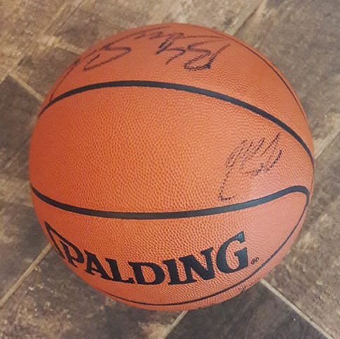2003 Cleveland Cavaliers Team Signed Basketball with Rookie Lebron James