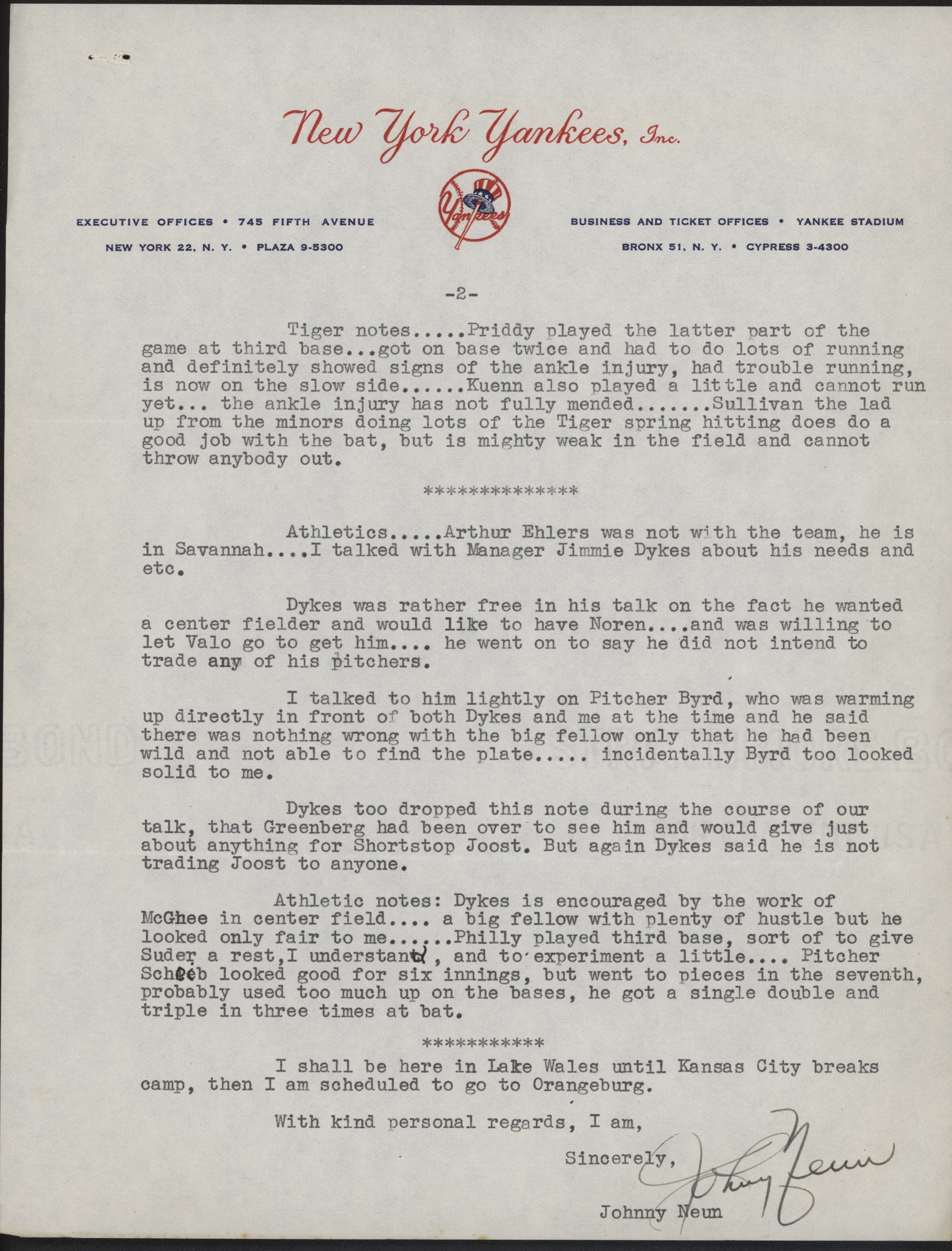 1953 Yankees Scouting Report to George Weiss