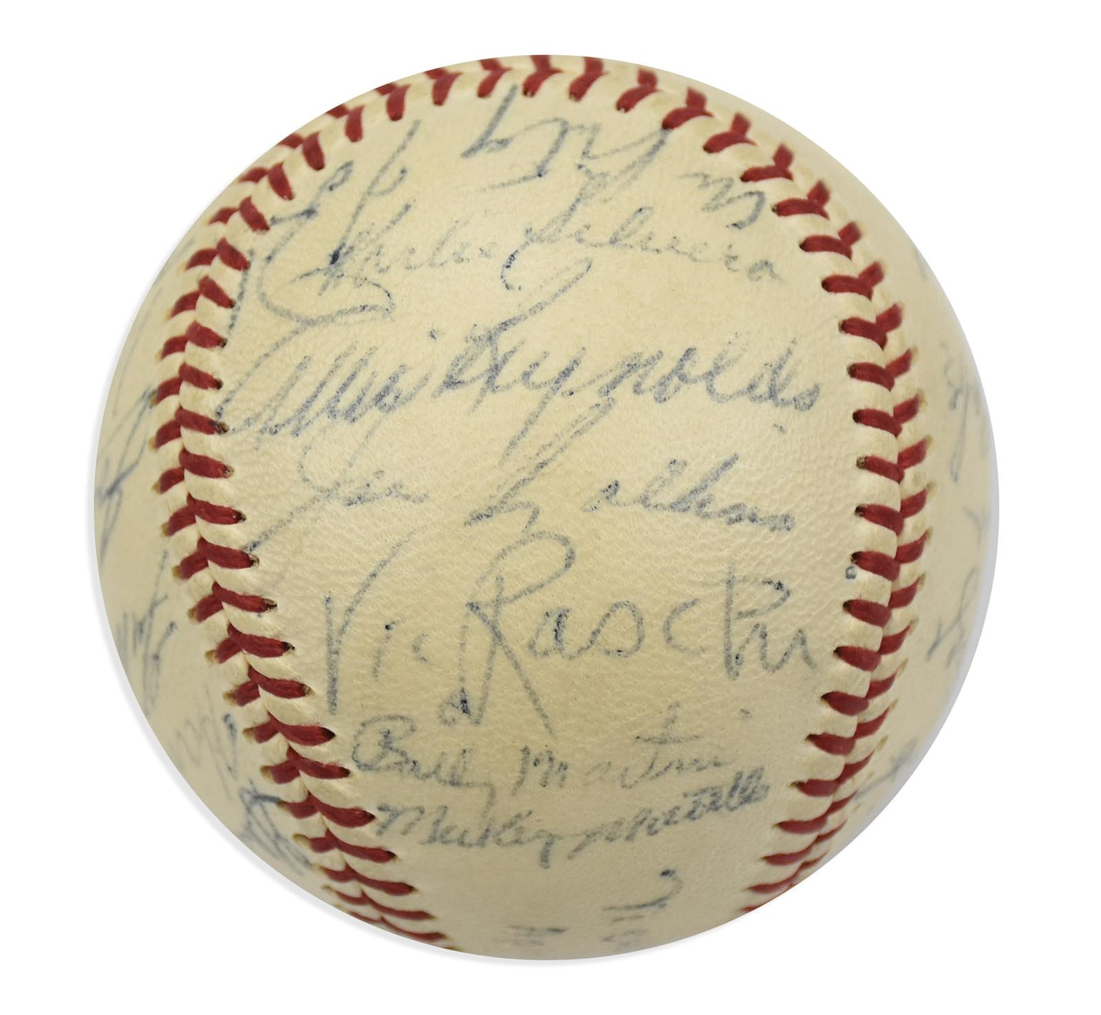 High Grade 1953 World Champion New York Yankees Team Signed Baseball (PSA)