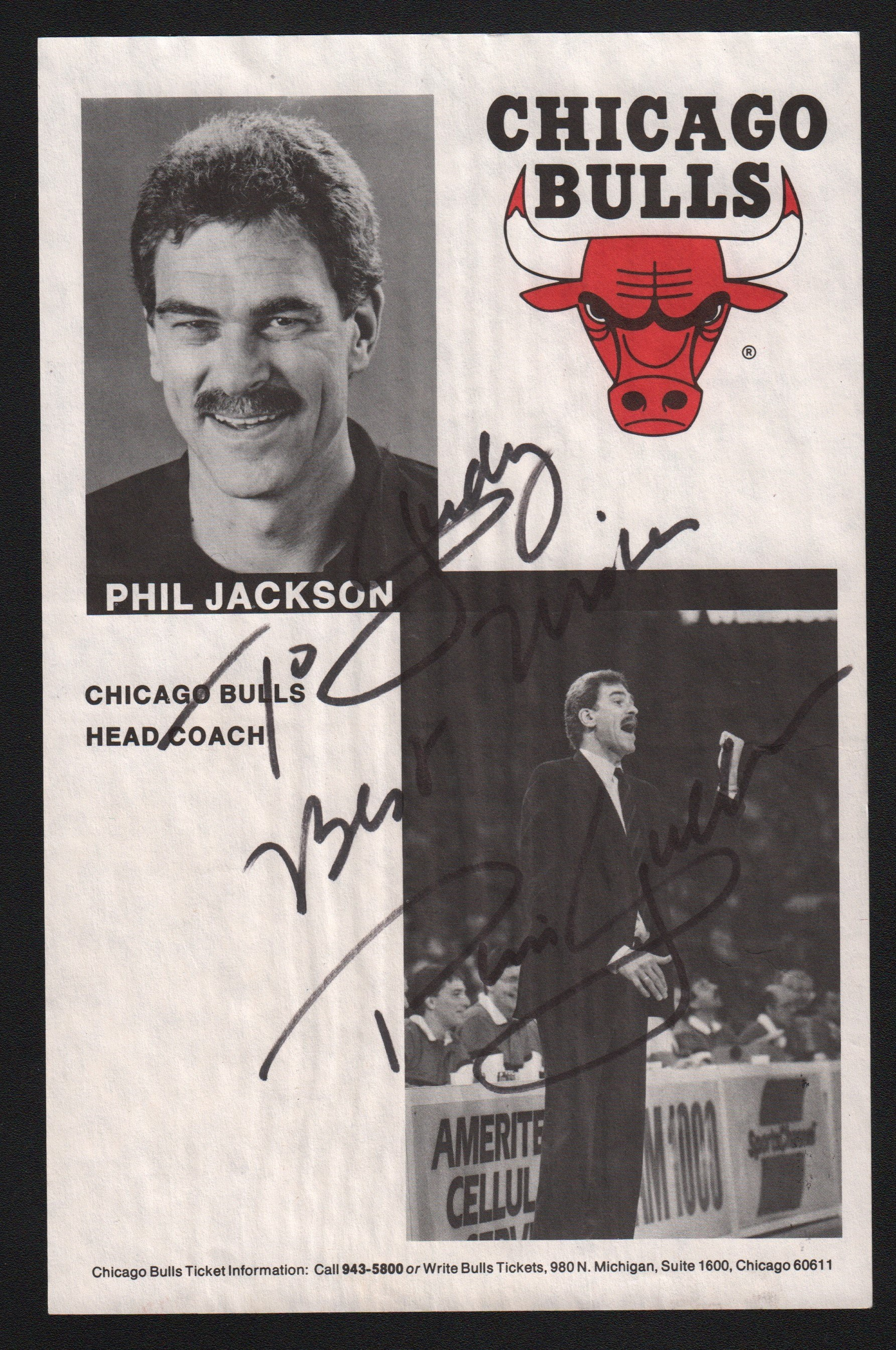 1990s Phil Jackson Signed 5.5x8.5