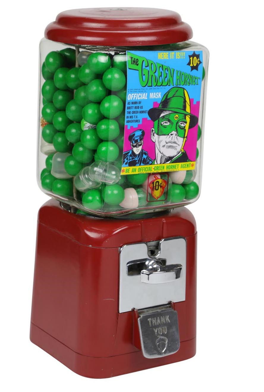 1967 Green Hornet Gumball Machine w/Complete Ring Set Inside